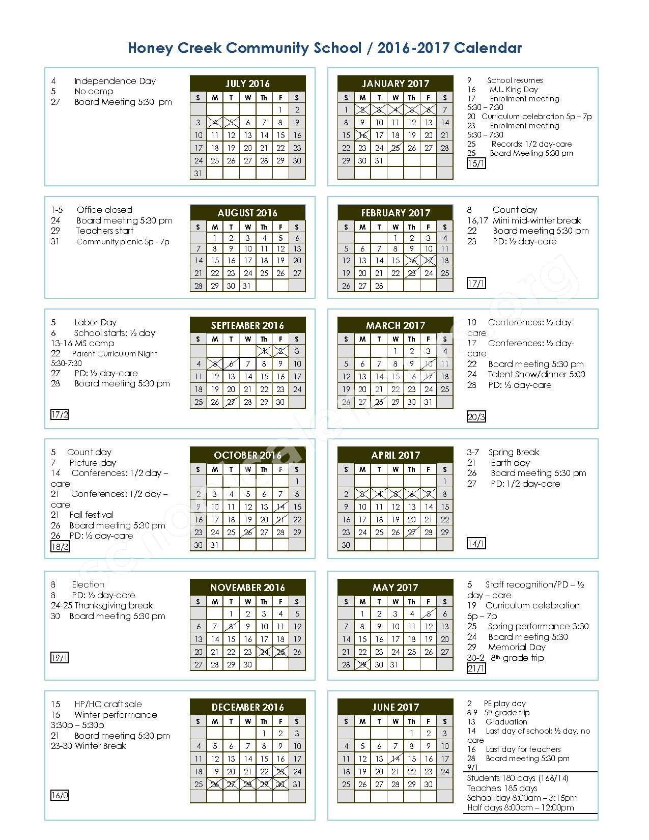 2016 - 2017 School Calendar – Honey Creek Community School – page 1