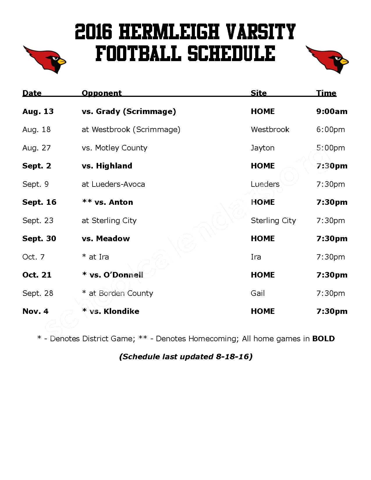 2016 - 2017 Football Schedule – Hermleigh Independent School District – page 1