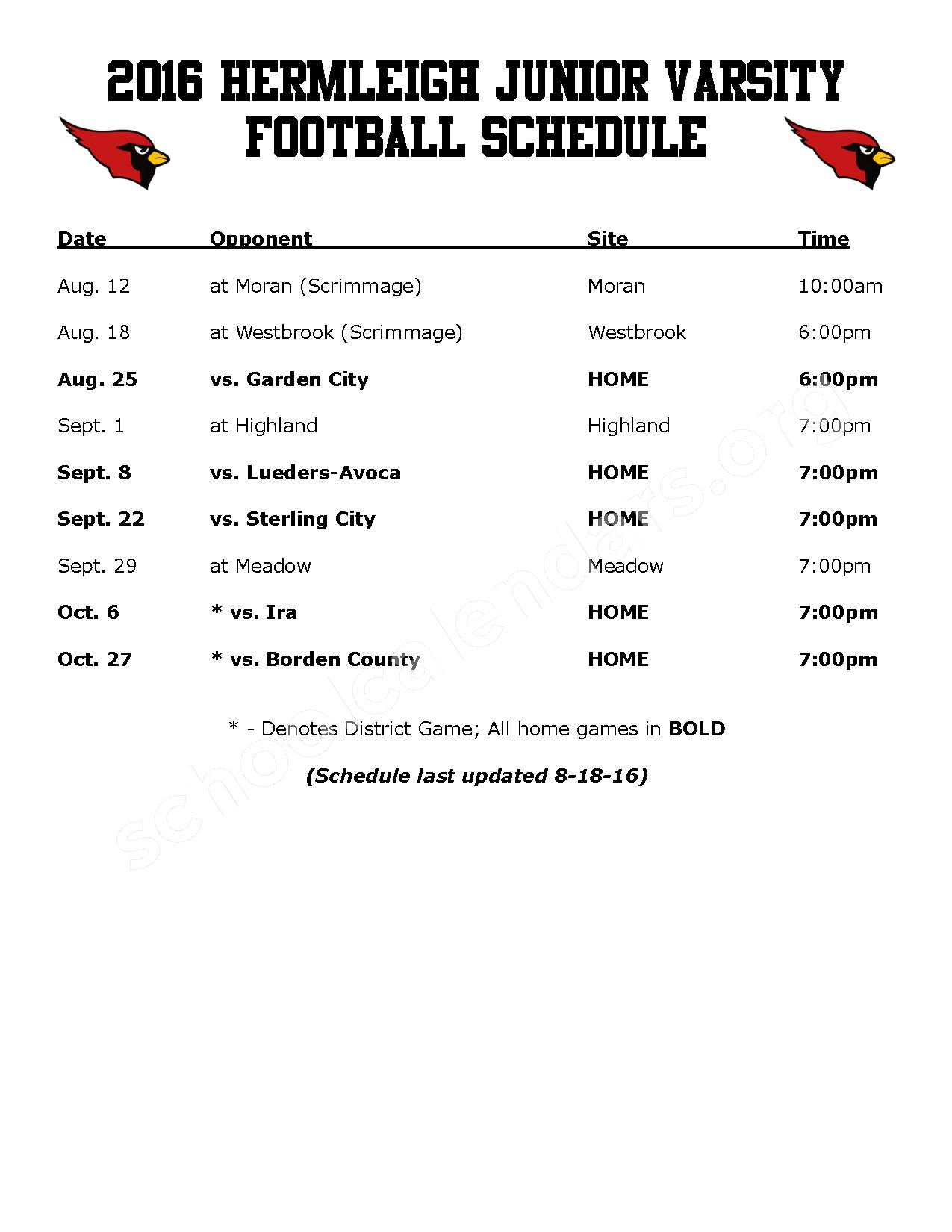 2016 - 2017 Football Schedule – Hermleigh Independent School District – page 2