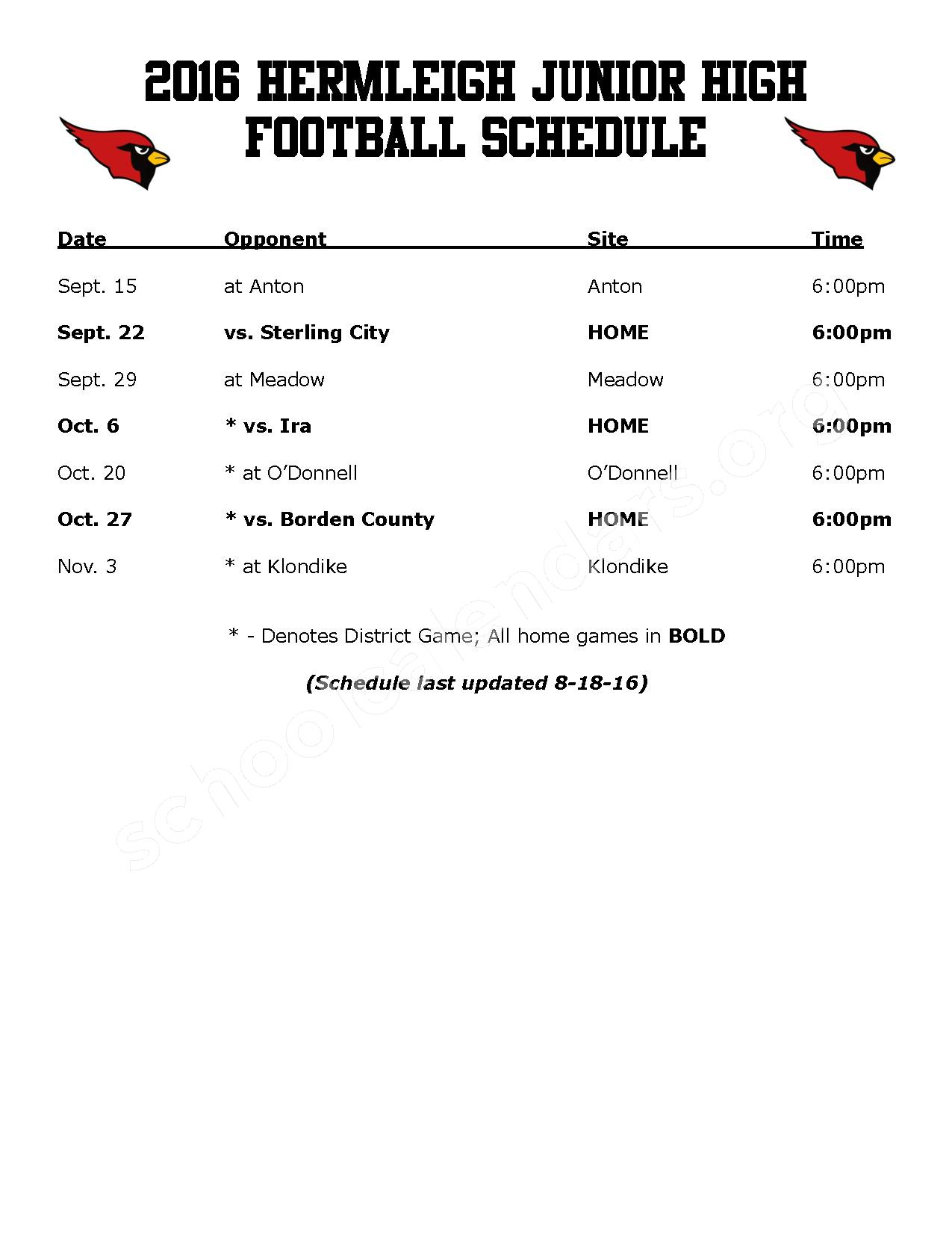 2016 - 2017 Football Schedule – Hermleigh Independent School District – page 3