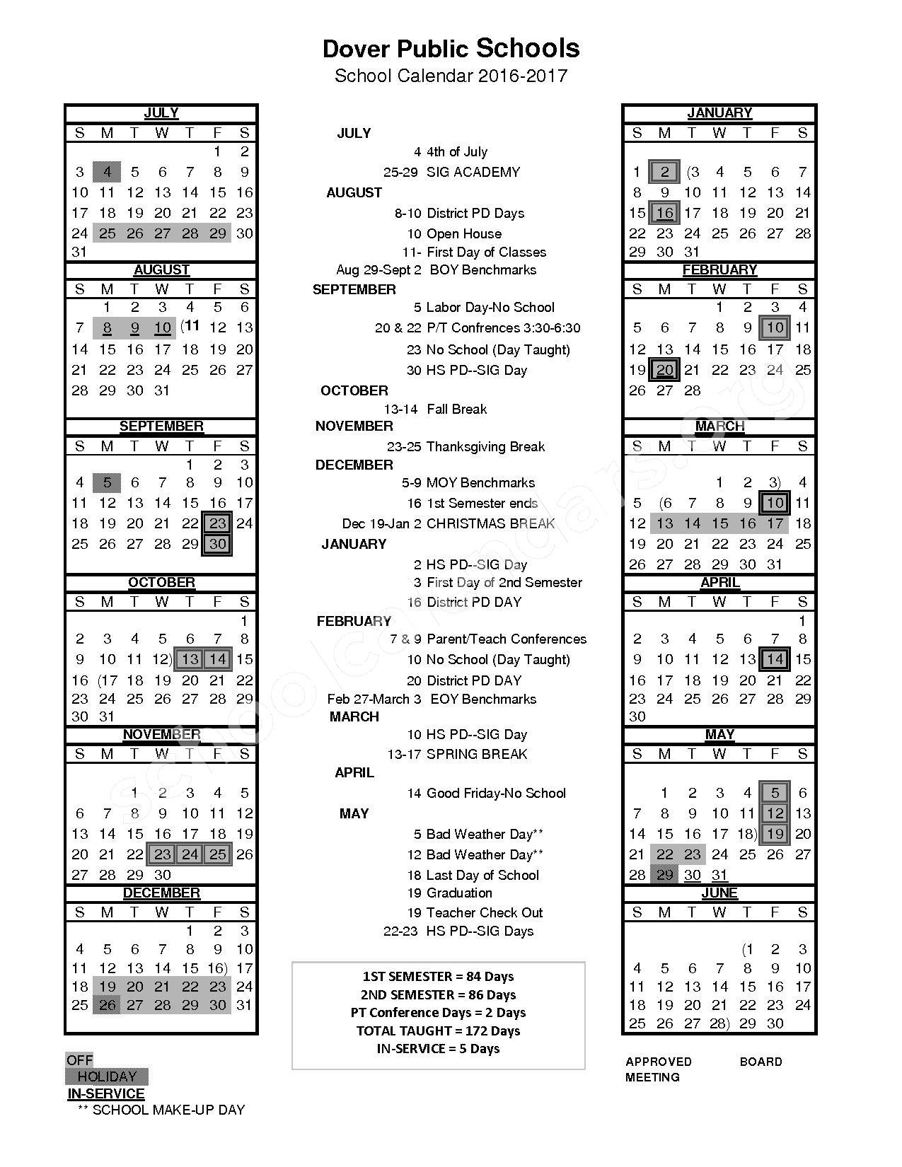 2016 - 2017 School Calendar – Dover Public Schools – page 1