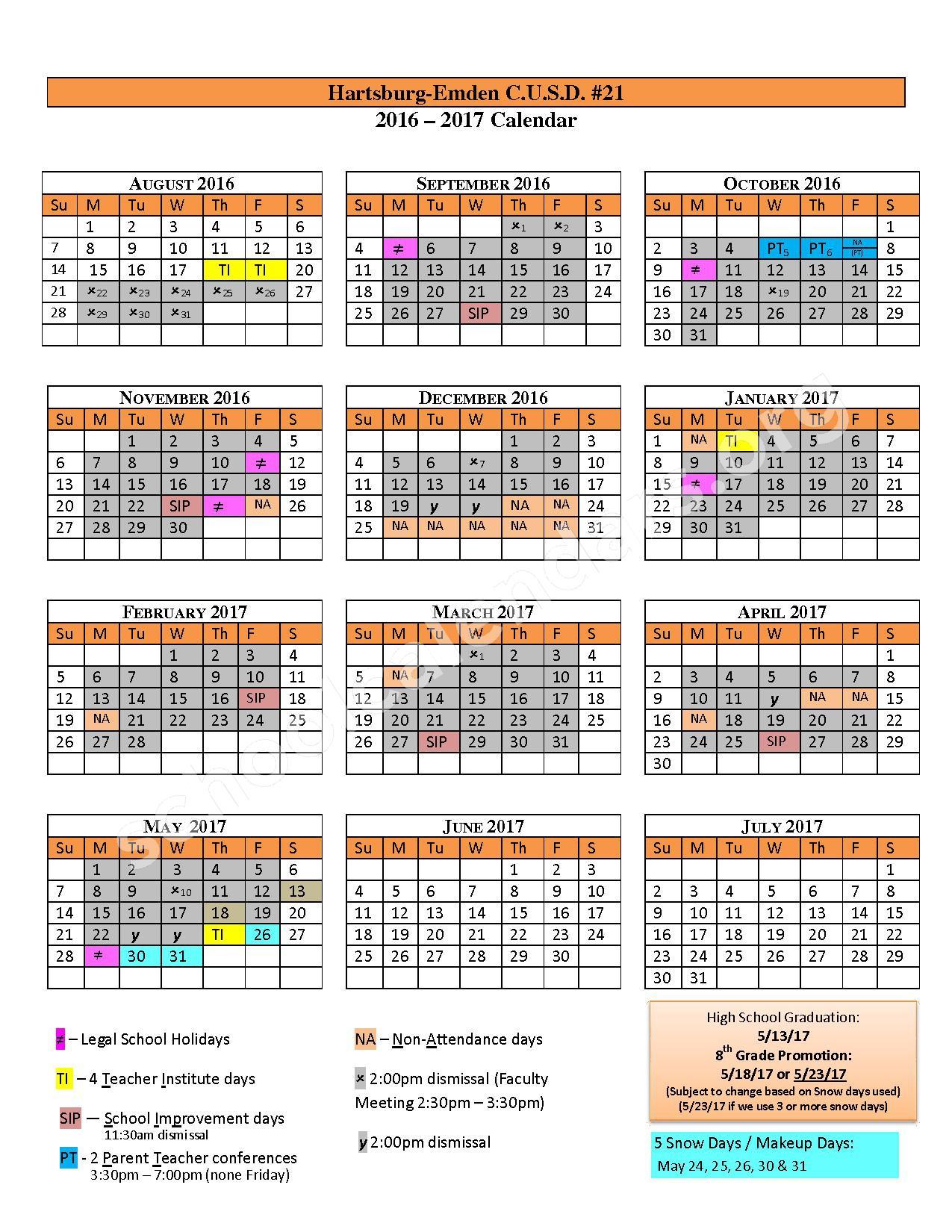 2016 - 2017 School Calendar – Hartsburg-Emden Junior / Senior High School – page 1