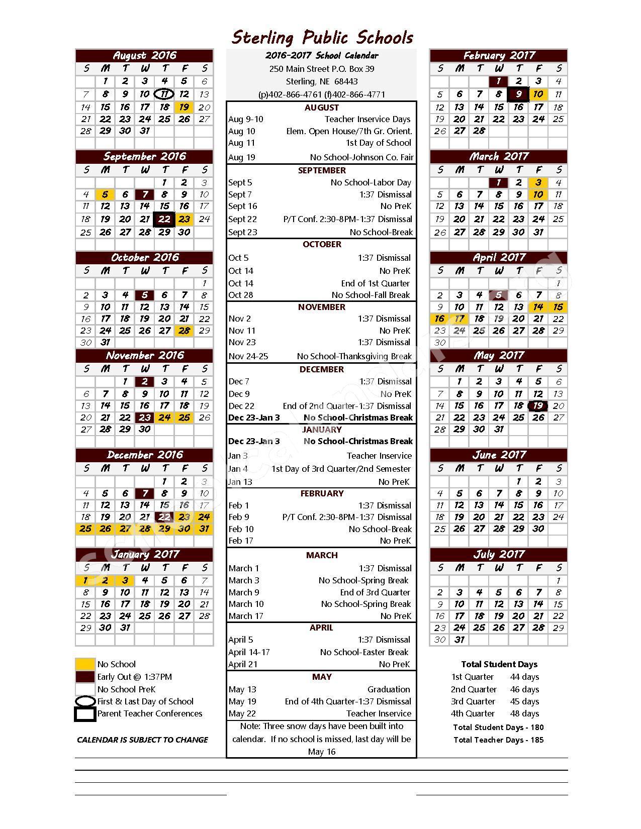 2016 - 2017 School Calendar – Sterling Public Schools – page 1