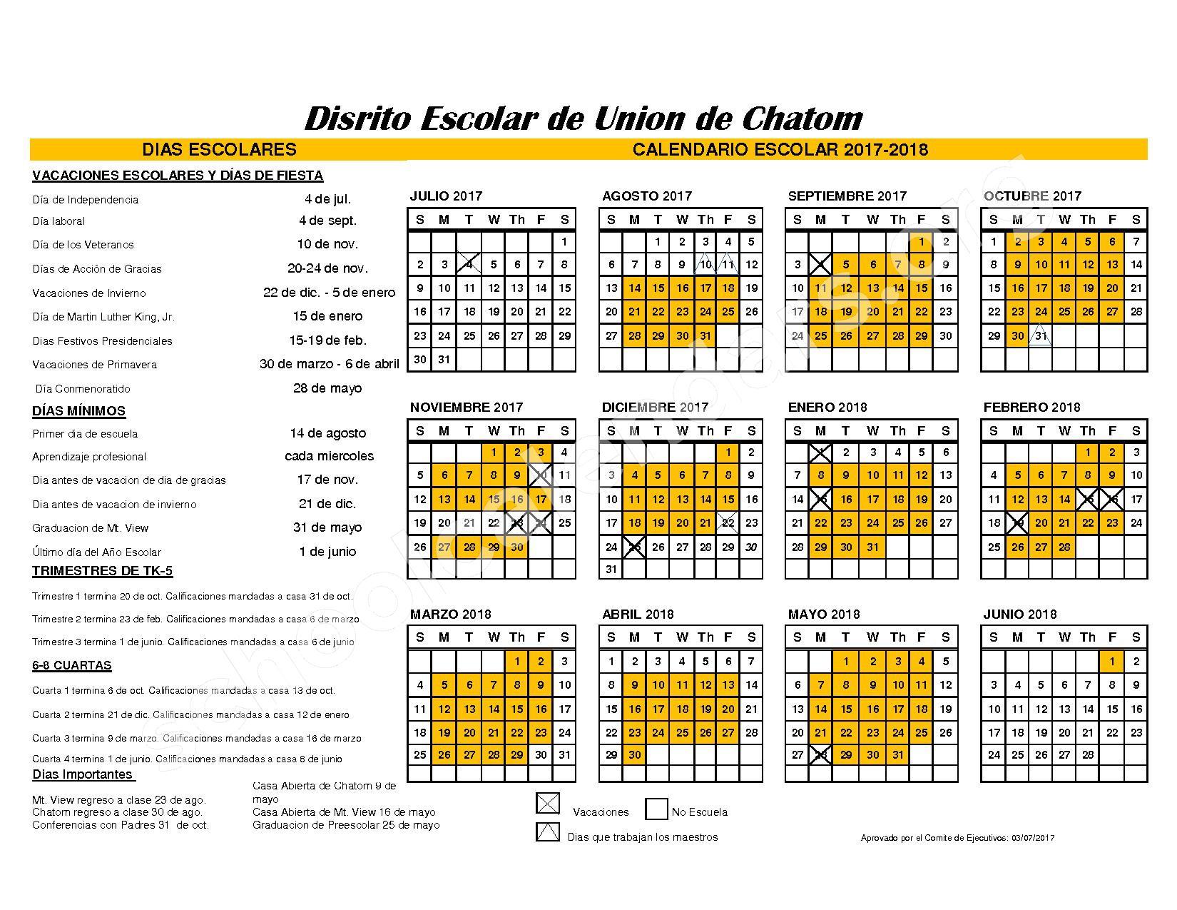 2017 - 2018 Calendario Espanol – Chatom Union School District – page 1