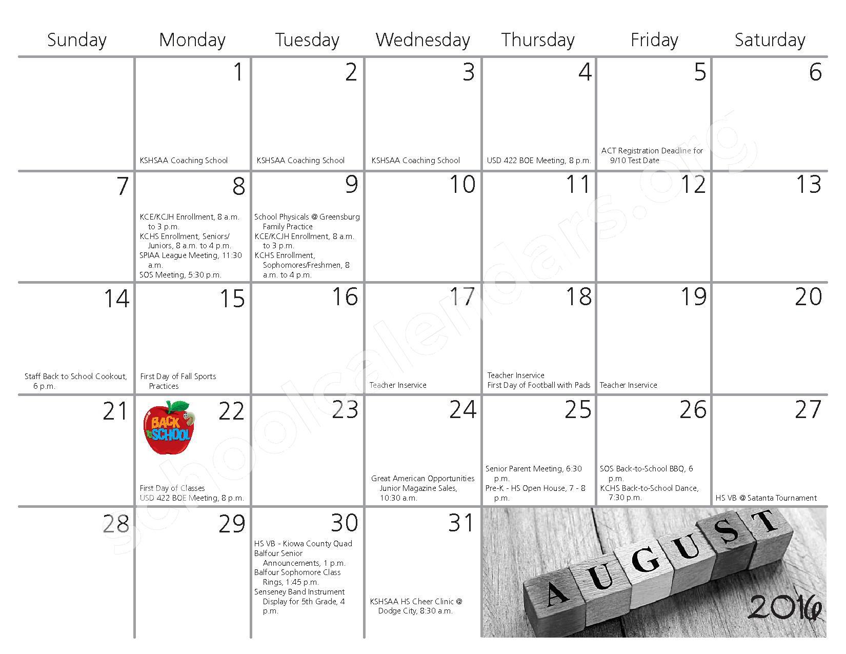 2016 - 2017 School Calendar – Kiowa County Schools USD 422 – page 1
