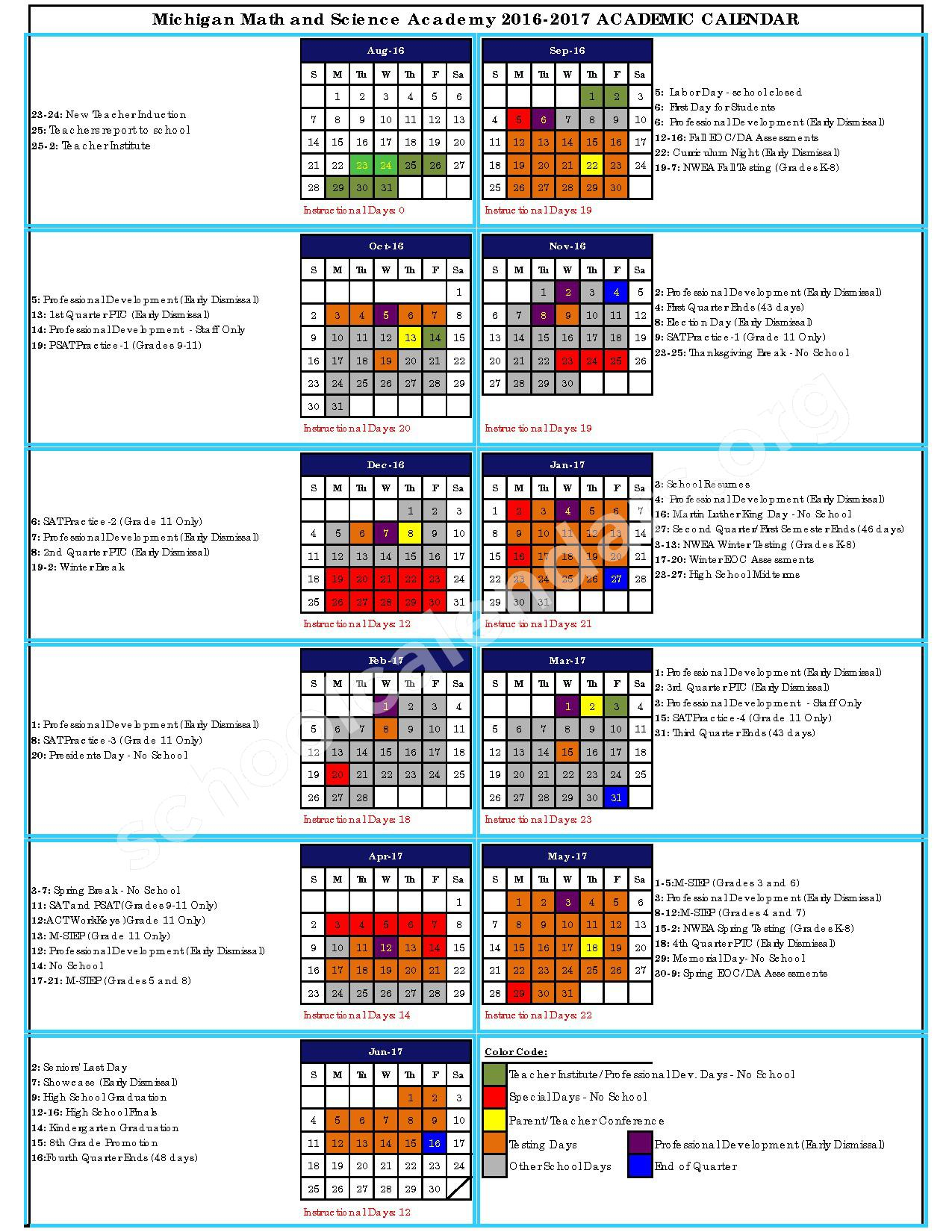 2016 - 2017 School Calendar – Michigan Math and Science Academy – page 1