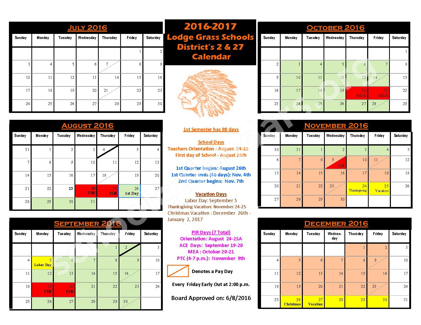 2016 - 2017 District Calendar – Lodge Grass Public School – page 1