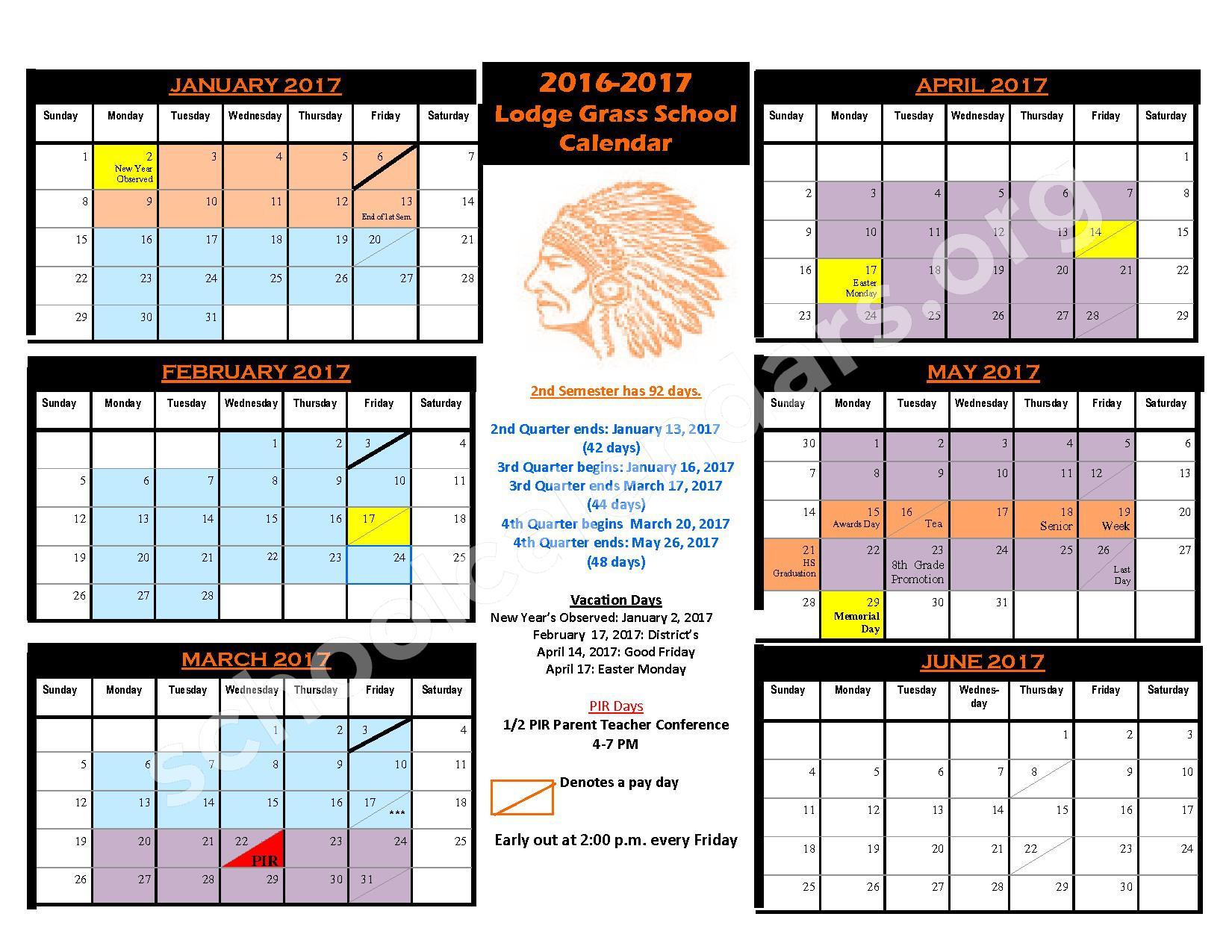 2016 - 2017 District Calendar – Lodge Grass Public School – page 2