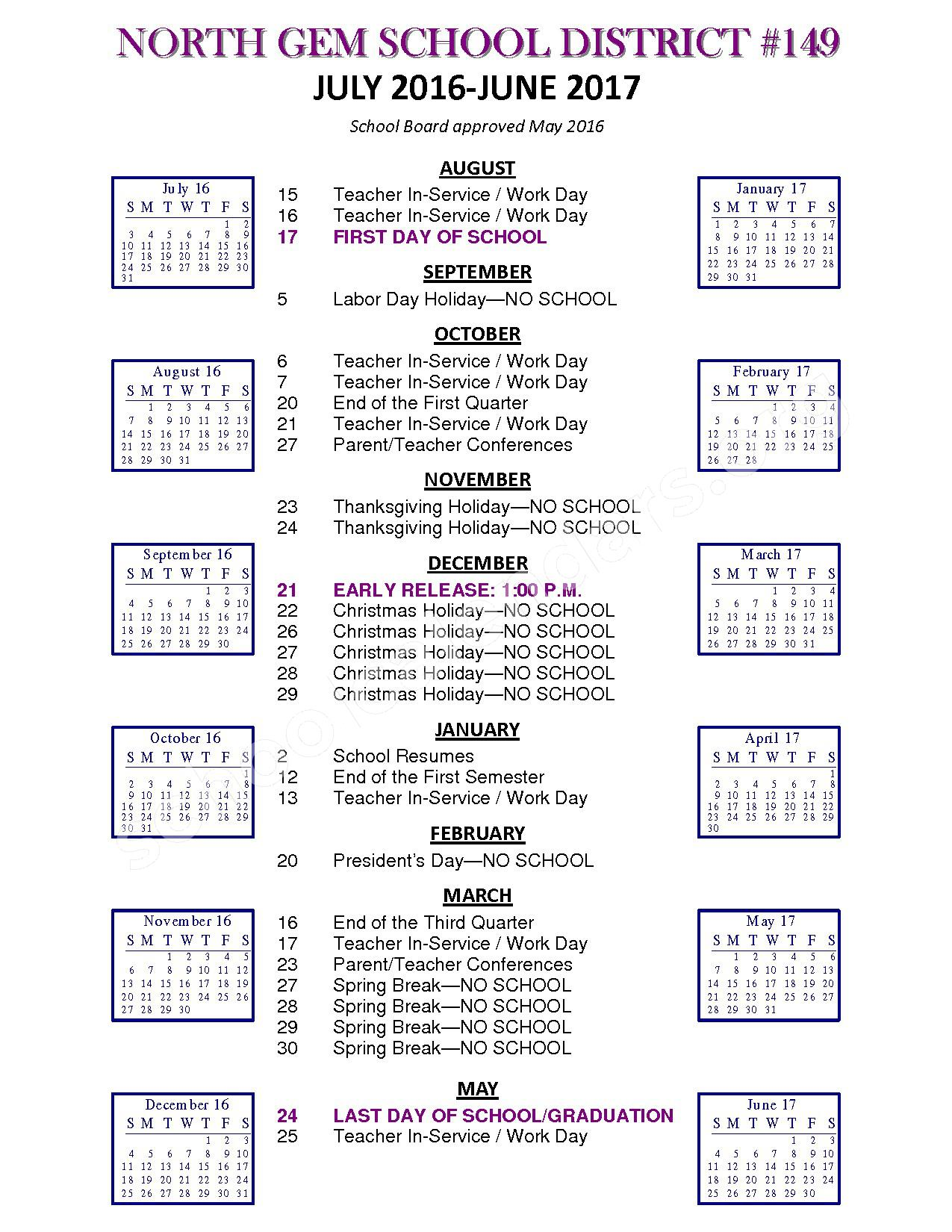 2016 - 2017 Year Calendar – North Gem School District 149 – page 1
