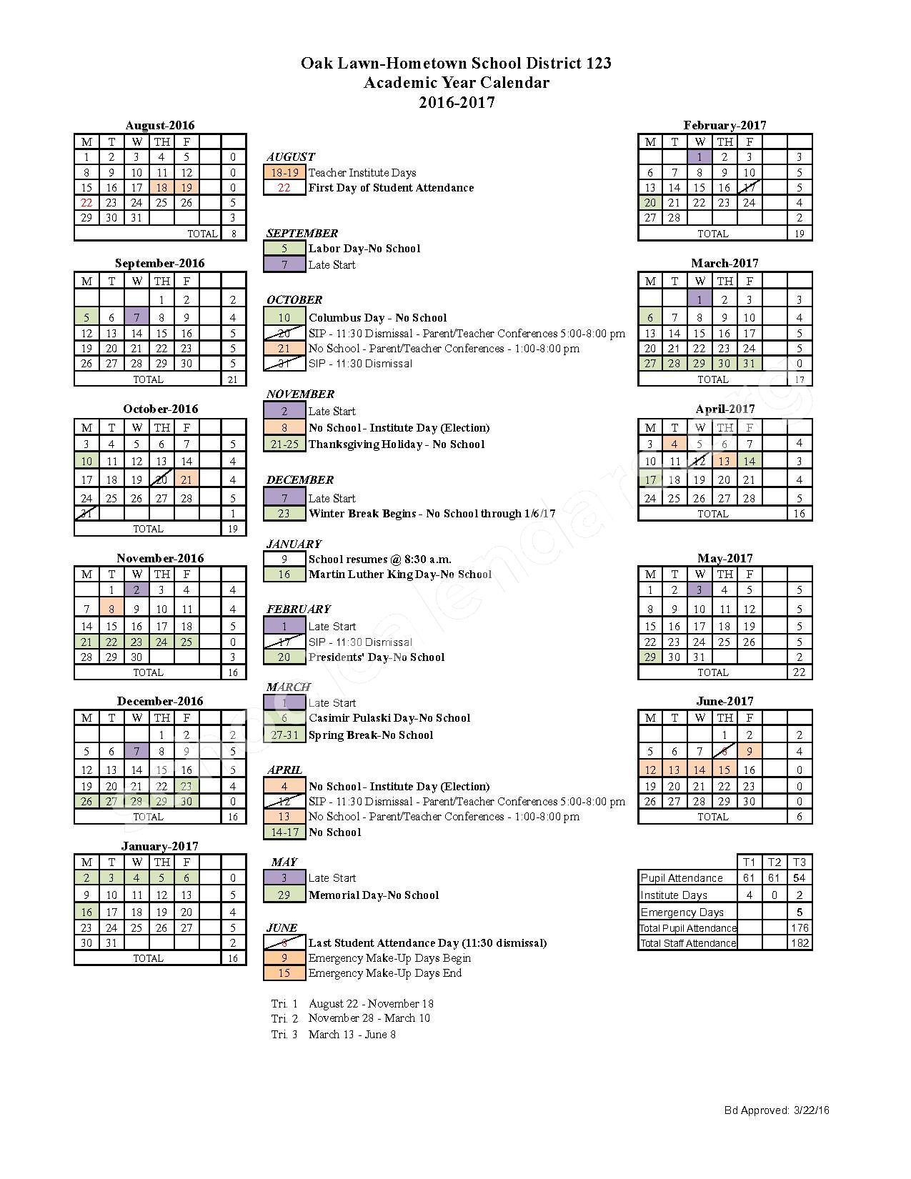 2016 - 2017 District Calendar – AERO Special Education Cooperative – page 1