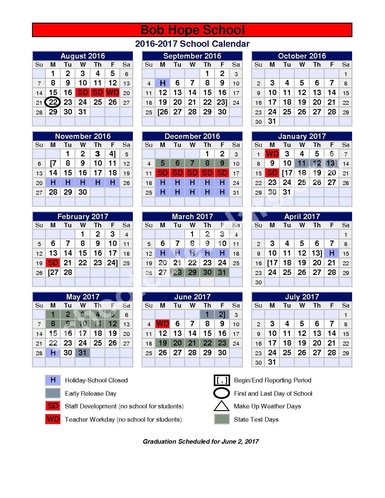 2016- 2017 calendar – Bob Hope School – page 1