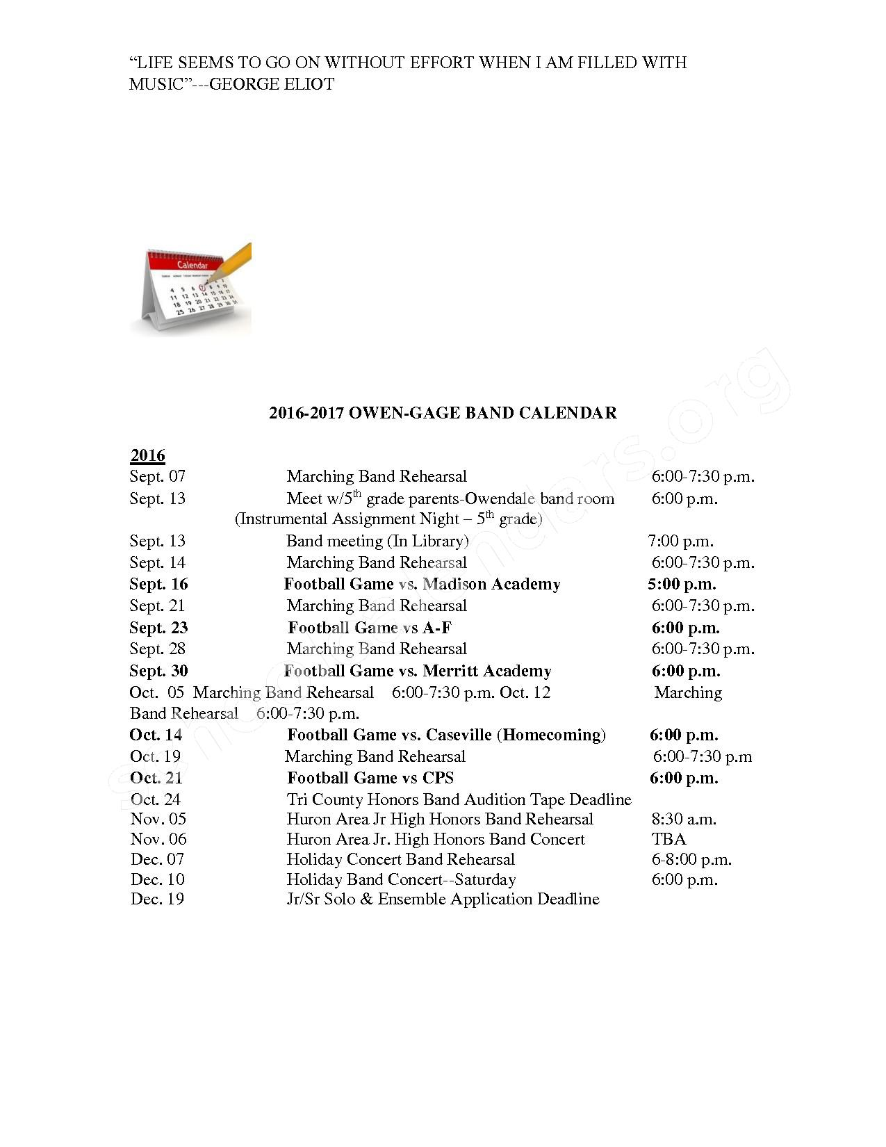 Band Calendar – Owendale-Gagetown Area Schools – page 1