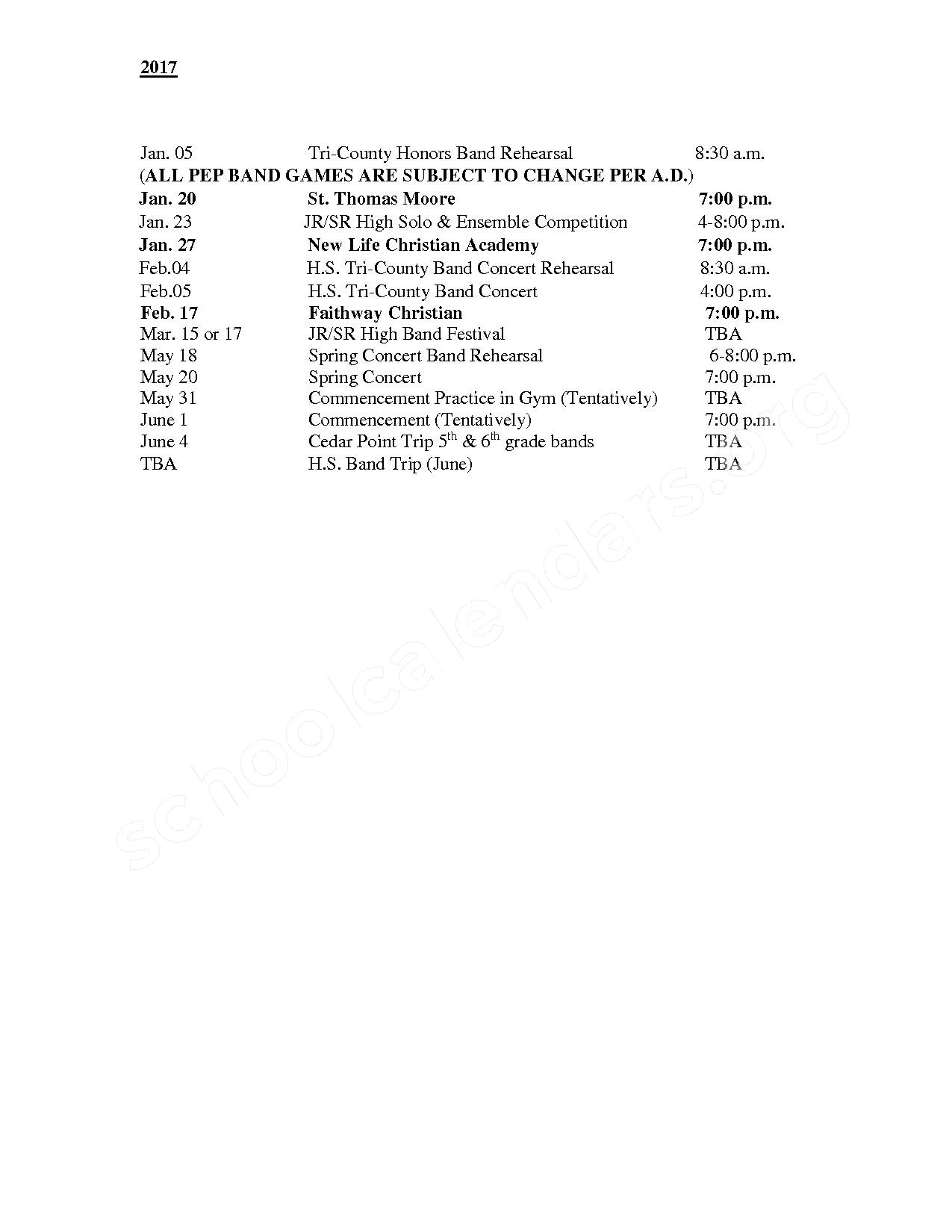 Band Calendar – Owendale-Gagetown Area Schools – page 2