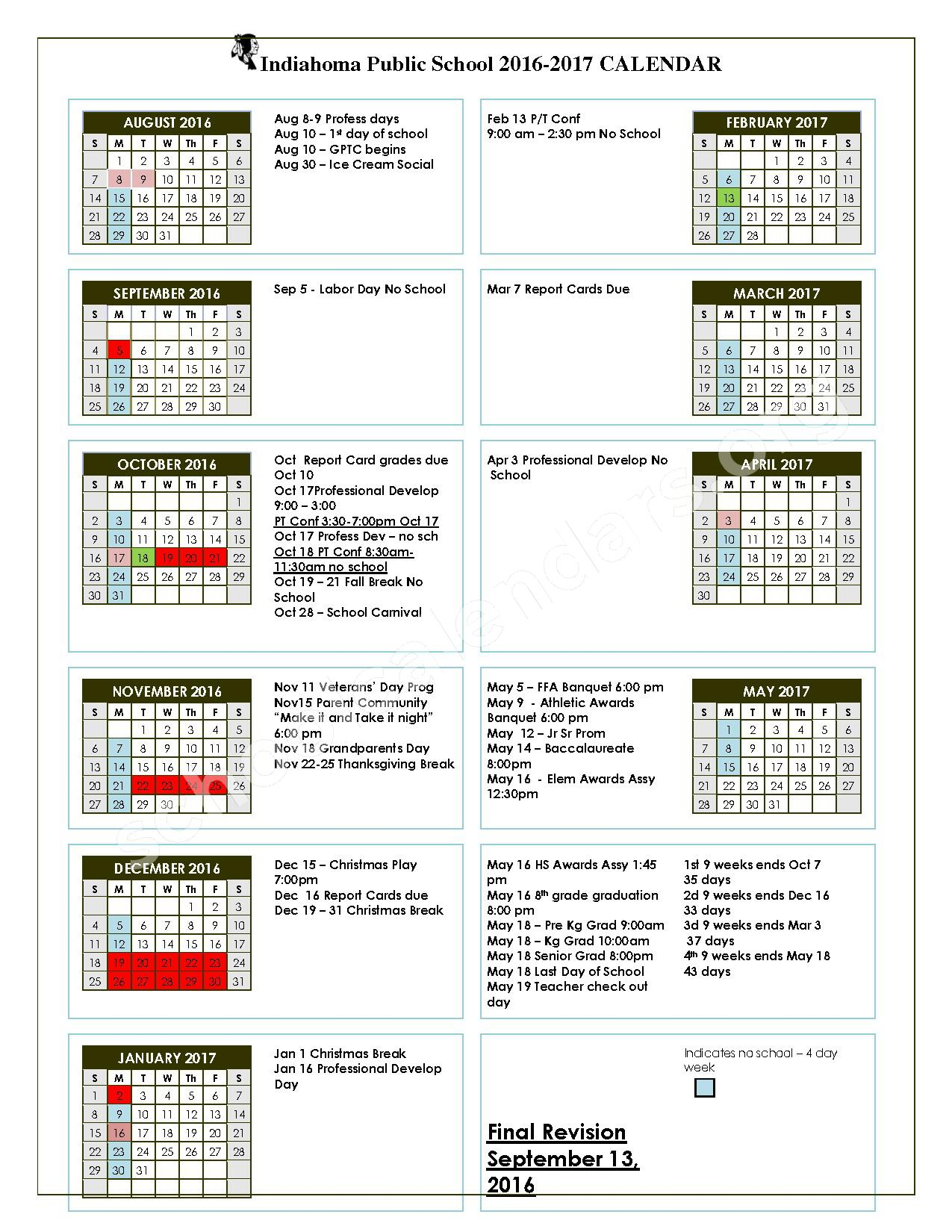 Calendar 2016 - 2017 four day week revised September 2016 – Indiahoma Public Schools – page 1