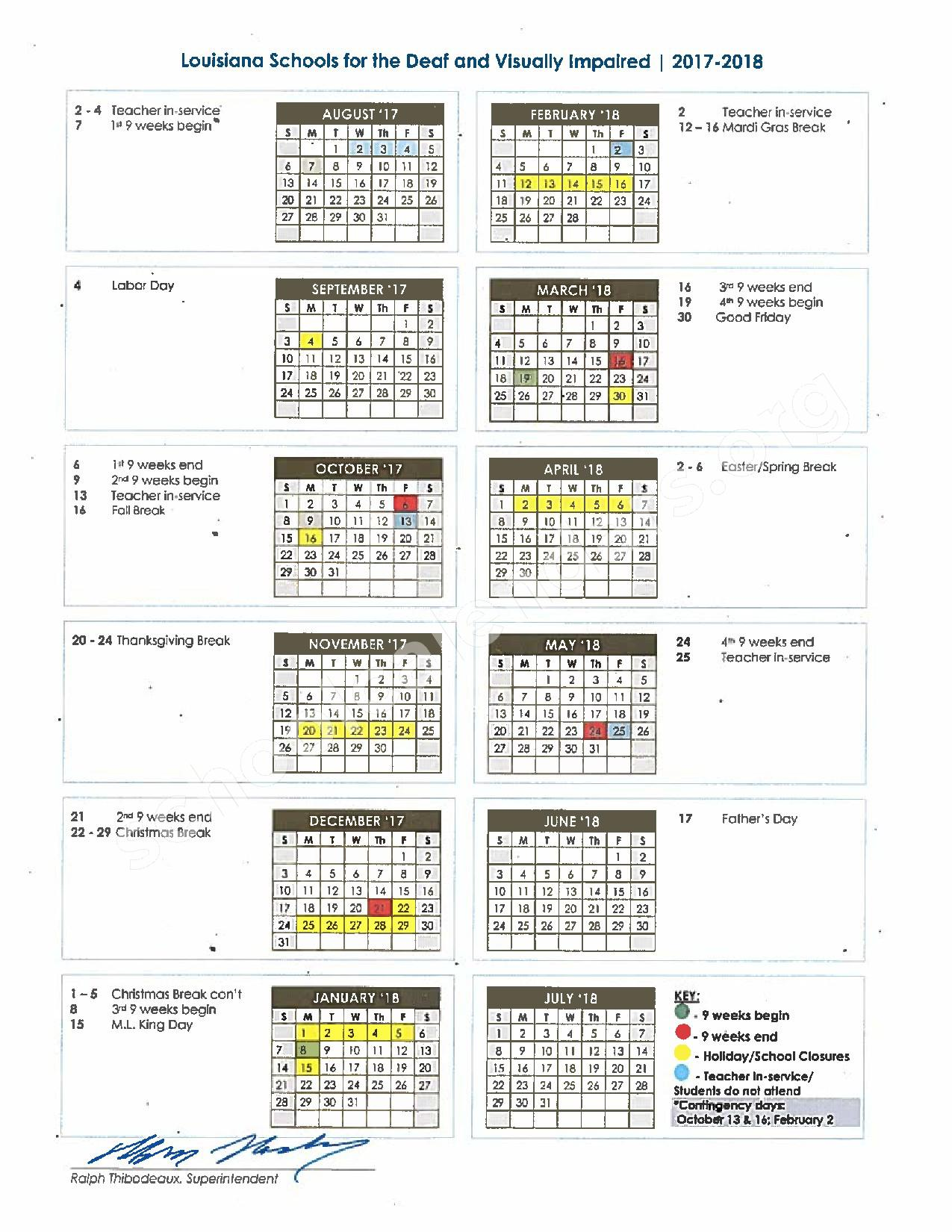 2017 - 2018 School Calendar – Louisiana School for the Visually Impaired – page 1