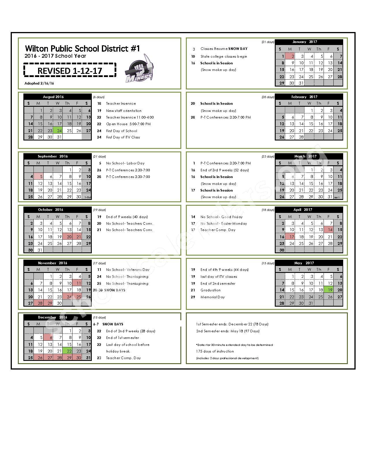 2016 - 2017 School Calendar (updated) – Wilton Public School – page 1
