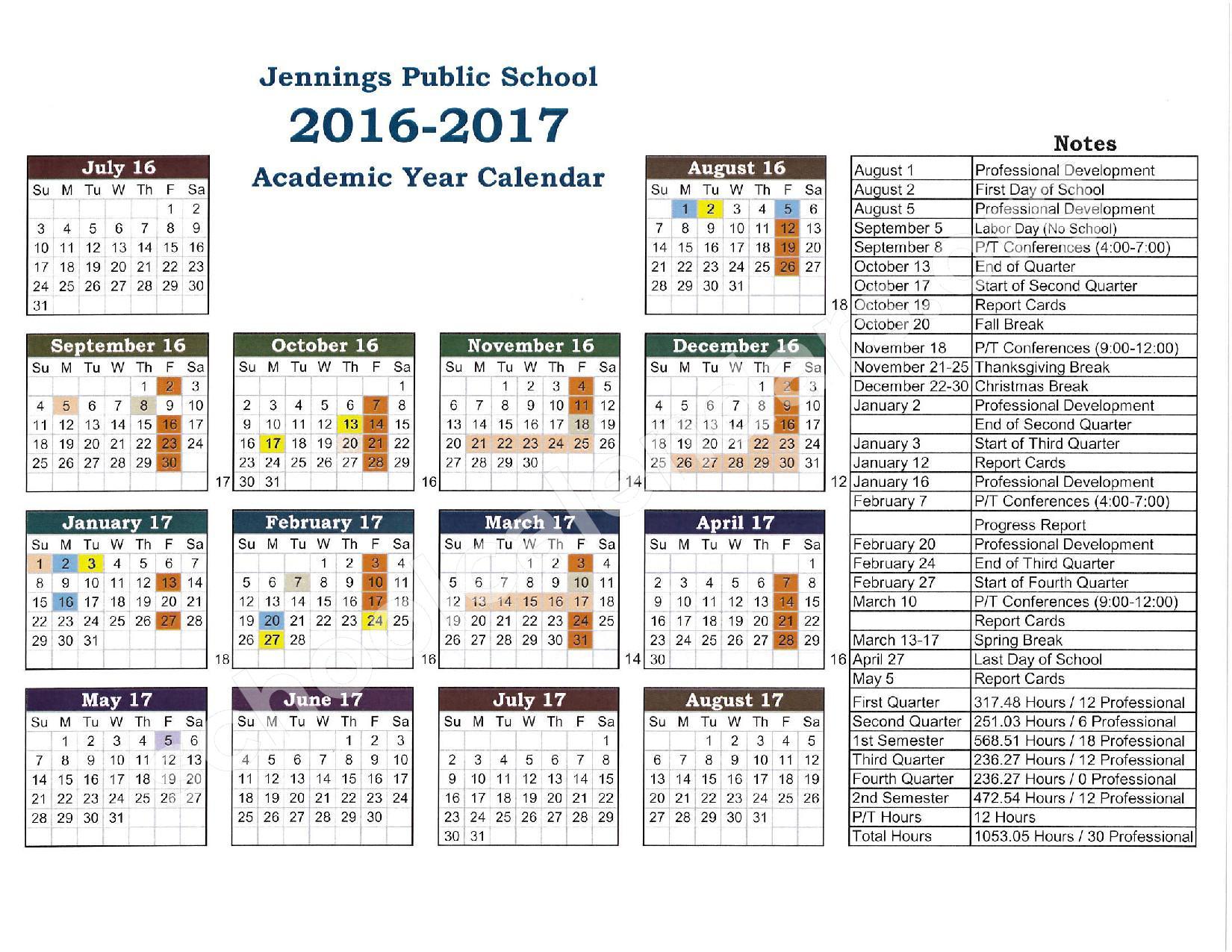 Jennings Calendar – Jennings Public Schools – page 1