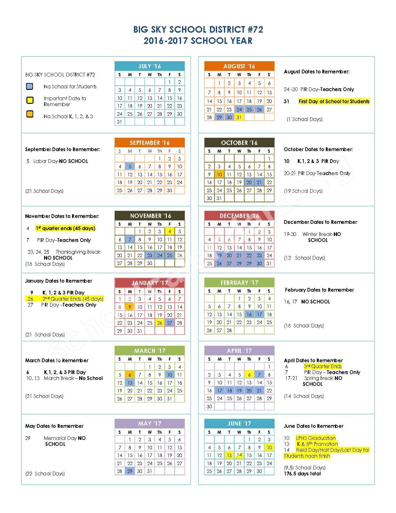 2016 - 2017 Academic Calendar – Big Sky School District 72 – page 1