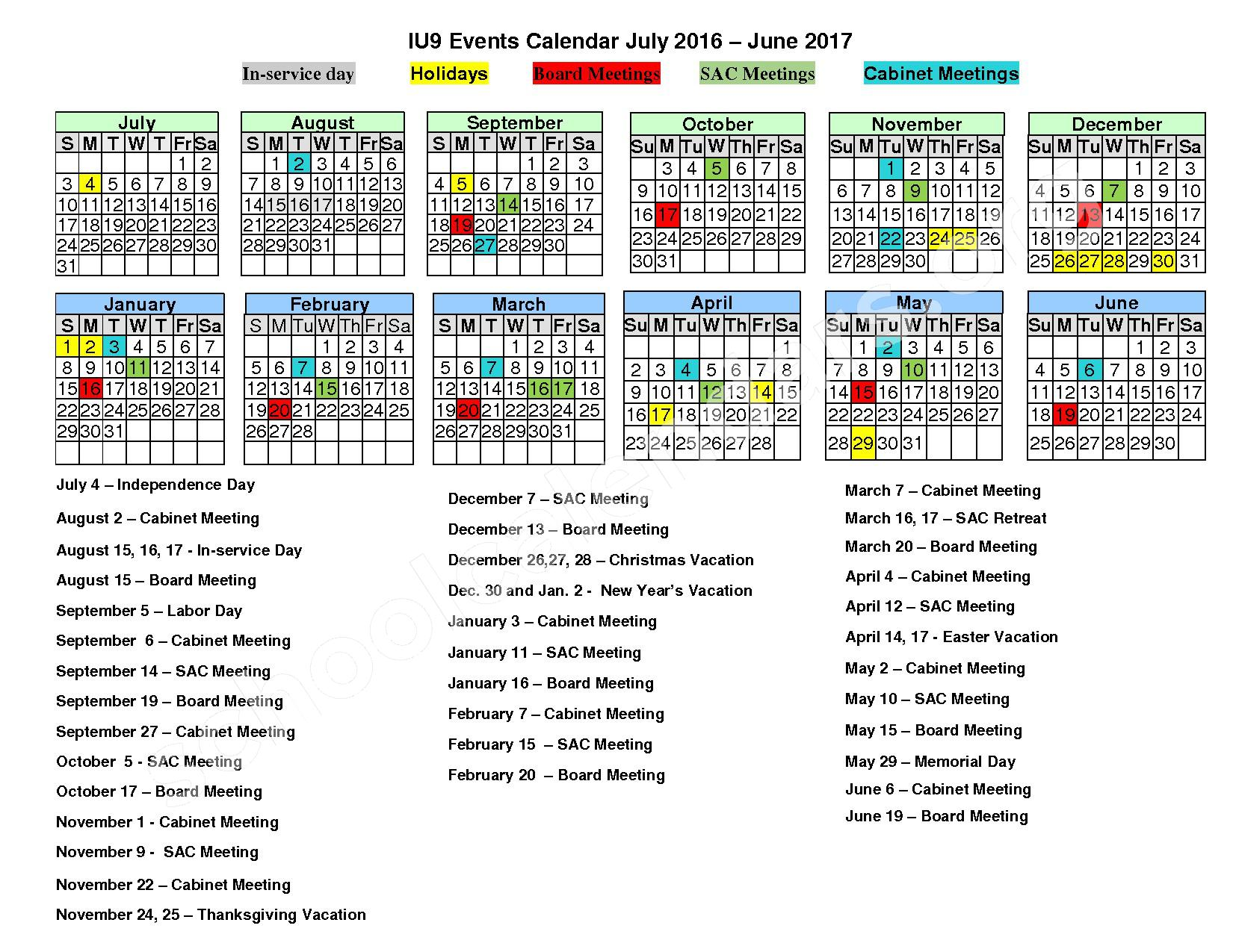 2016 -2017 School Calendar – Austin Area School District – page 1