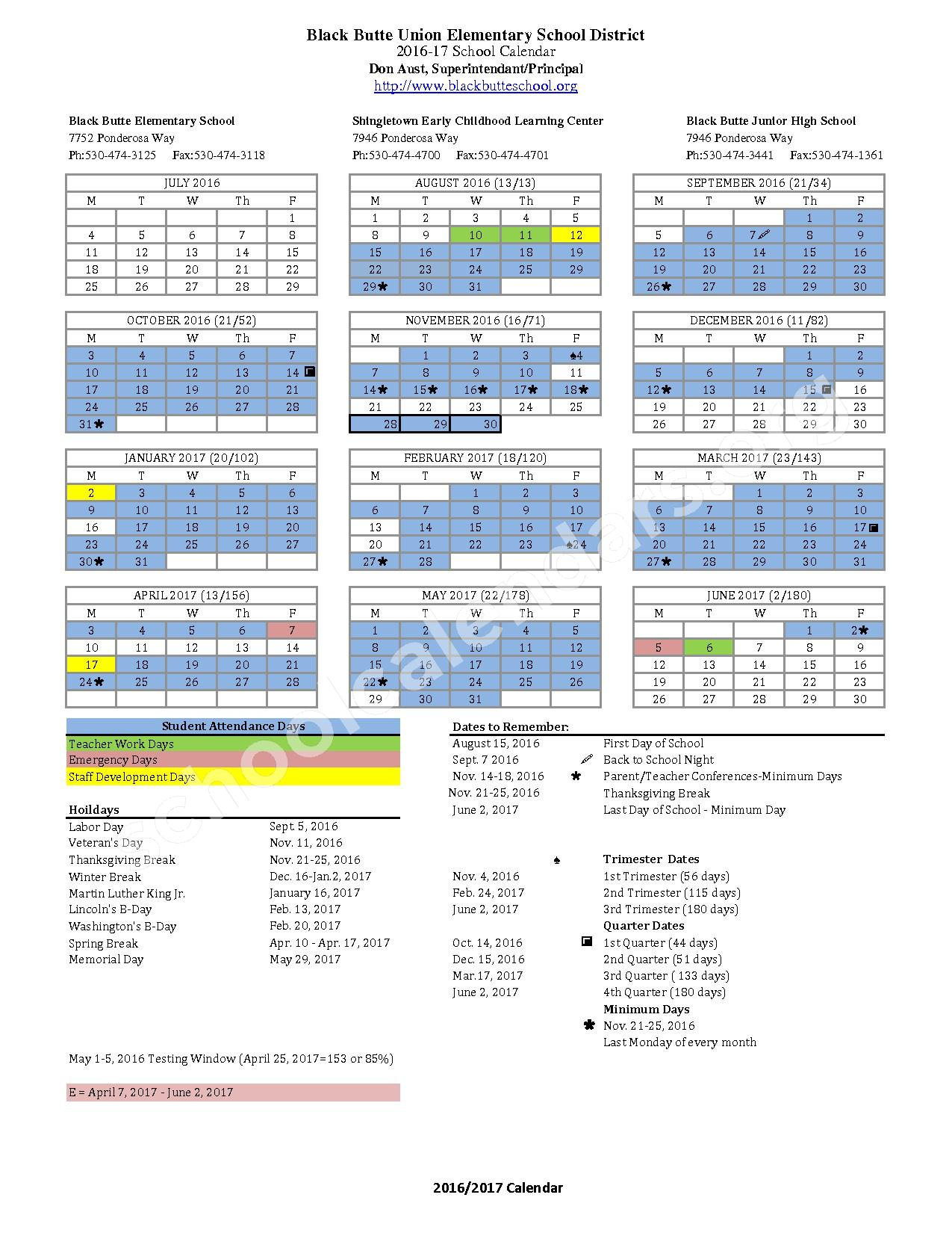 2016 - 2017 School Calendar – Black Butte Union Elementary School District – page 1