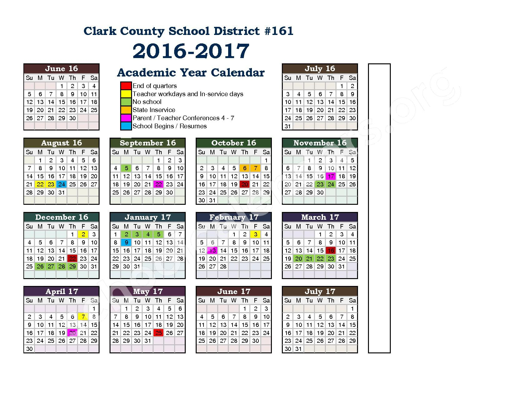District School Calendar – Clark County School District 161 – page 1