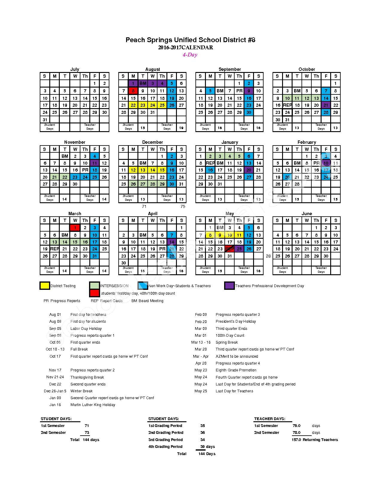 Peach Springs School Year Calendar 2016 - 2017 – Peach Springs Unified School District #8 – page 1