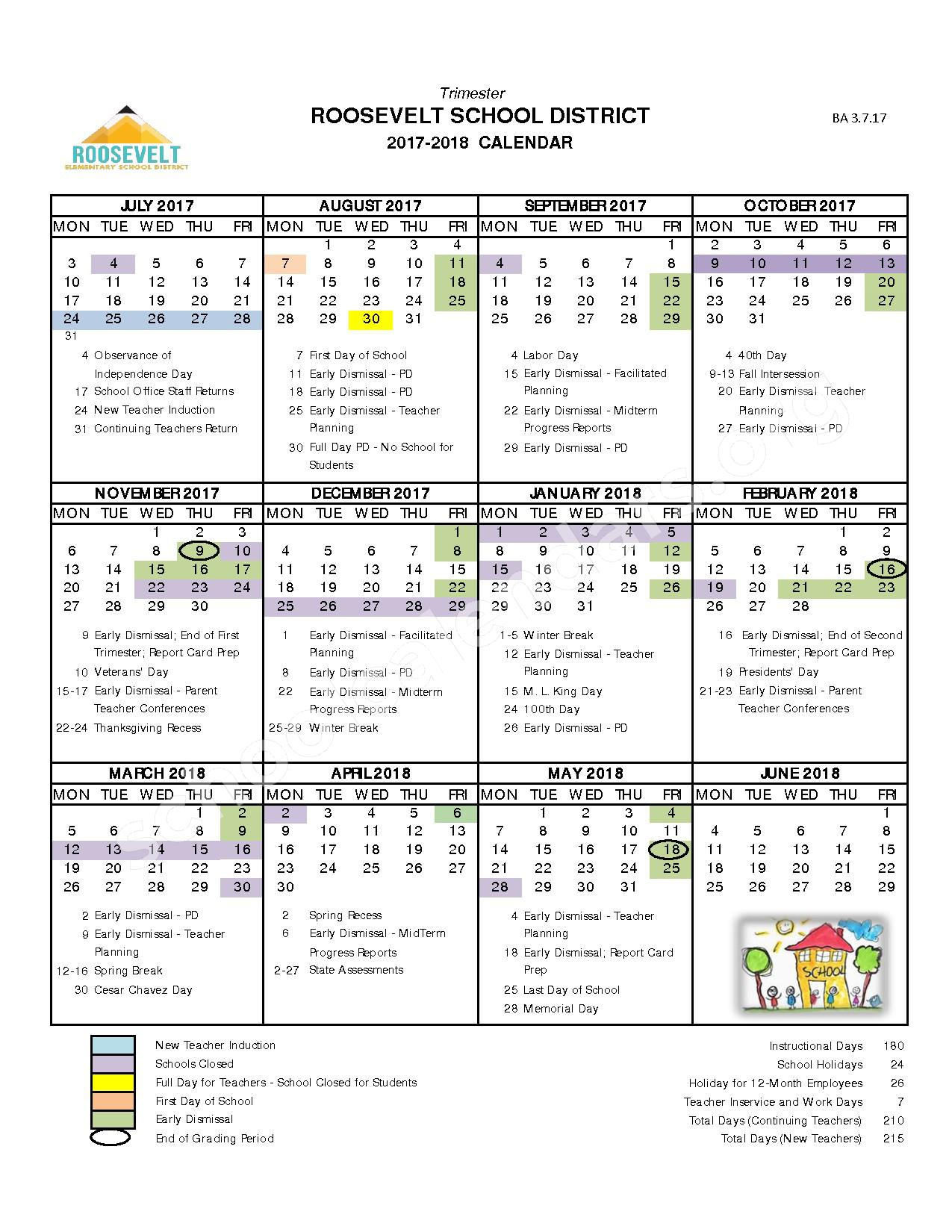 2017 - 2018 Instructional Calendar – C O Greenfield School – page 1