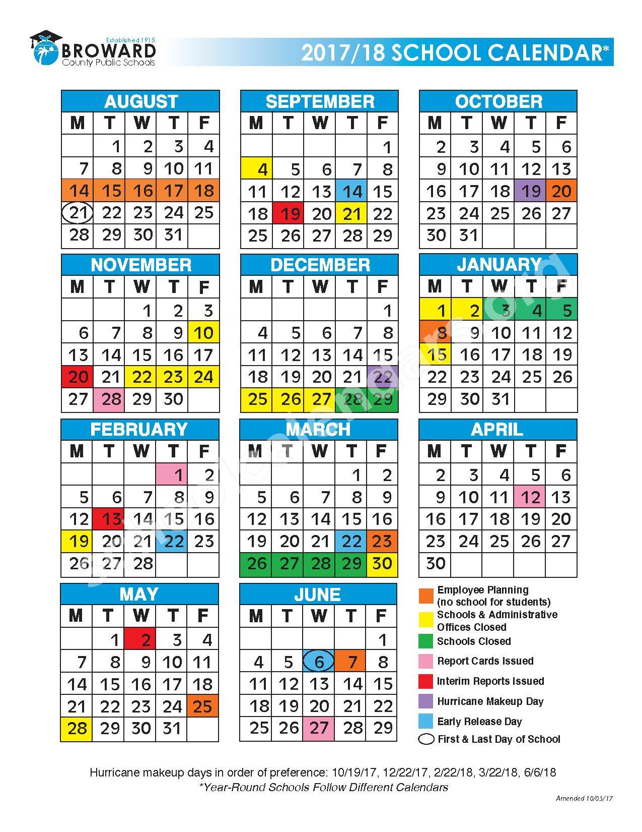 2017 - 2018 District Calendar – Bright Horizons – page 1
