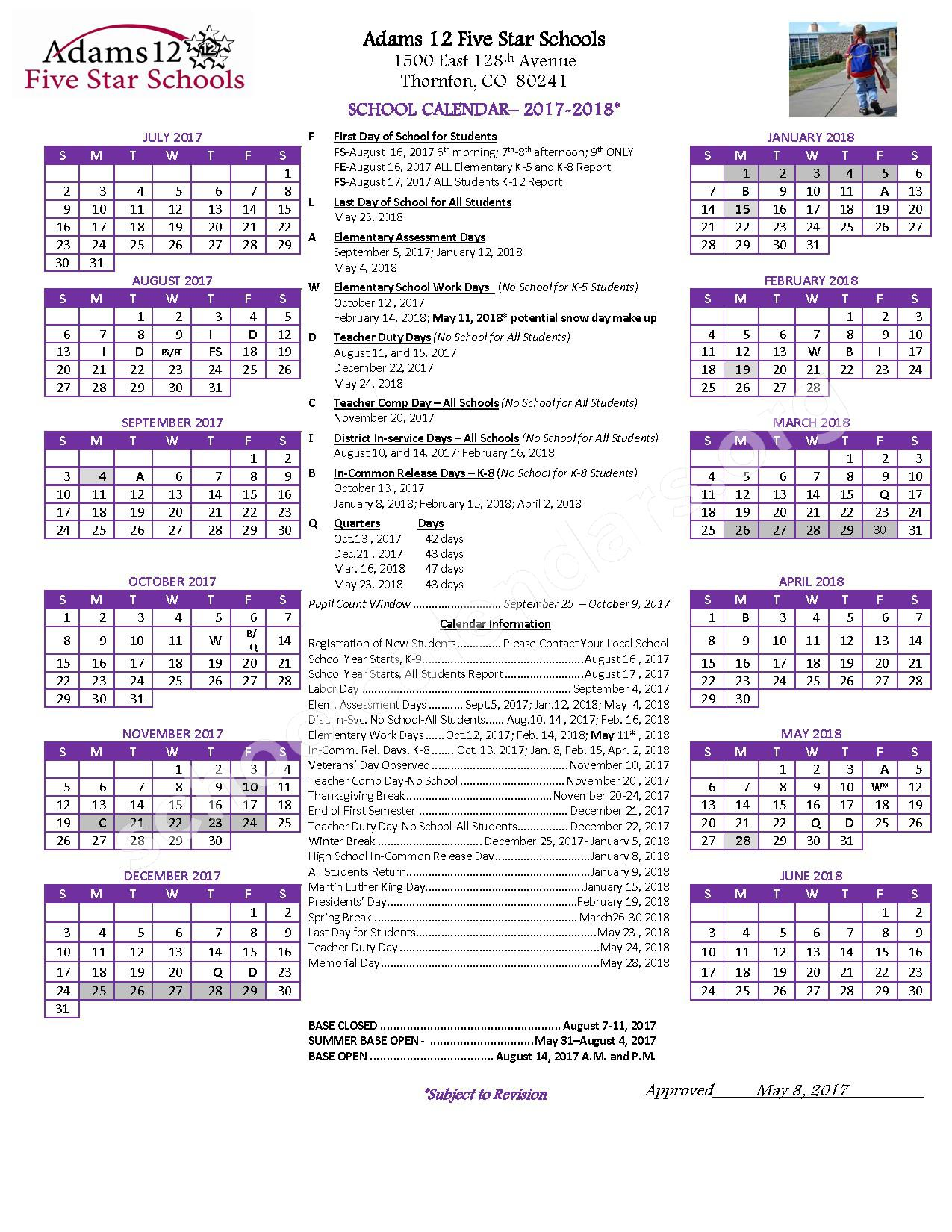 2017 - 2018 District Calendar – Adams County School District 50 – page 1