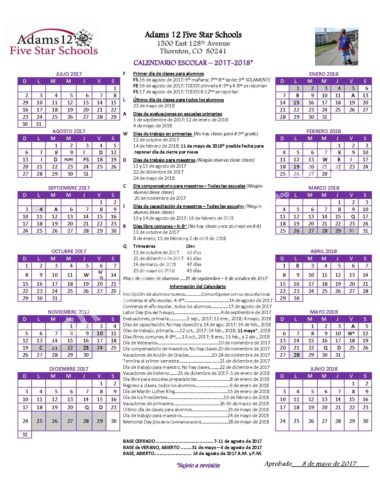 2017 - 2018 Calendario Escolar – Adams County School District 50 – page 1