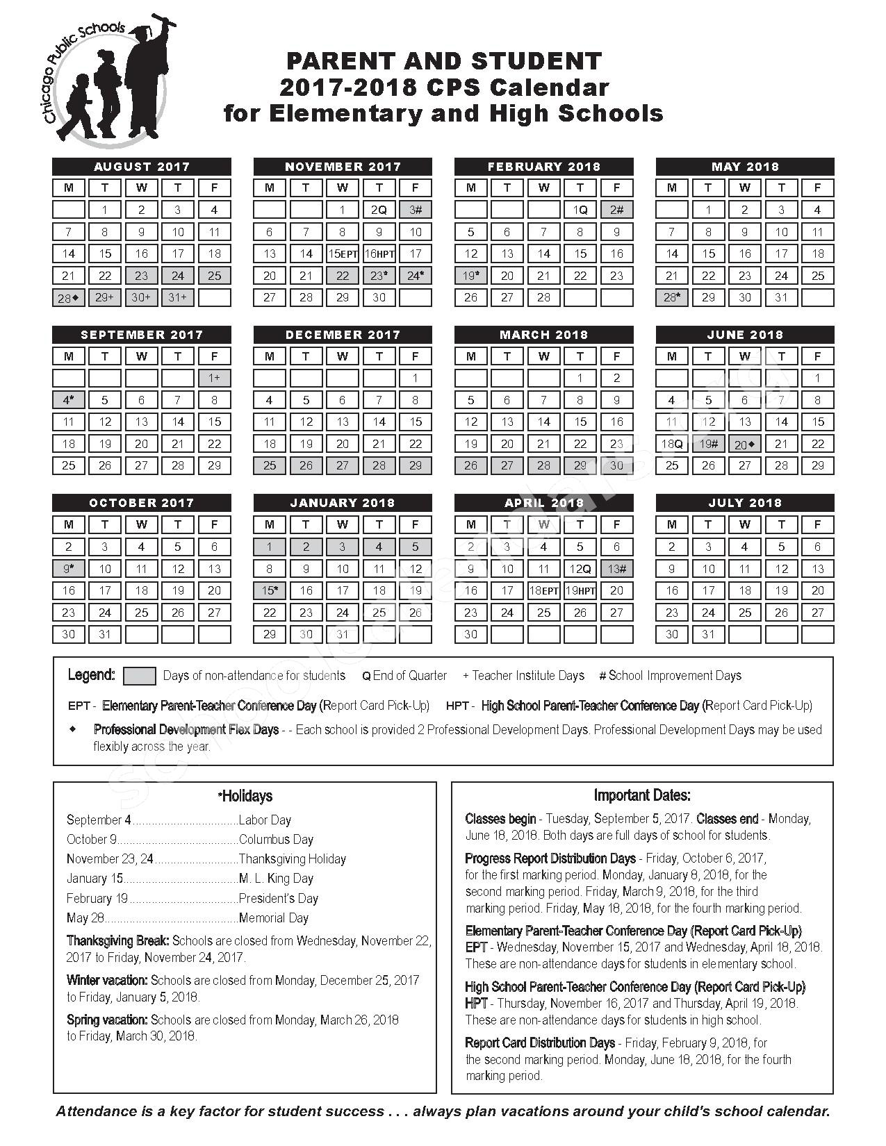 2017 - 2018 Parent Calendar – Chicago Public Schools – page 1