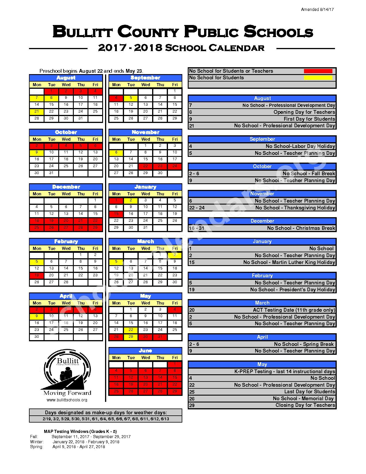 2017 - 2018 District Calendar – Hebron Middle School – page 1
