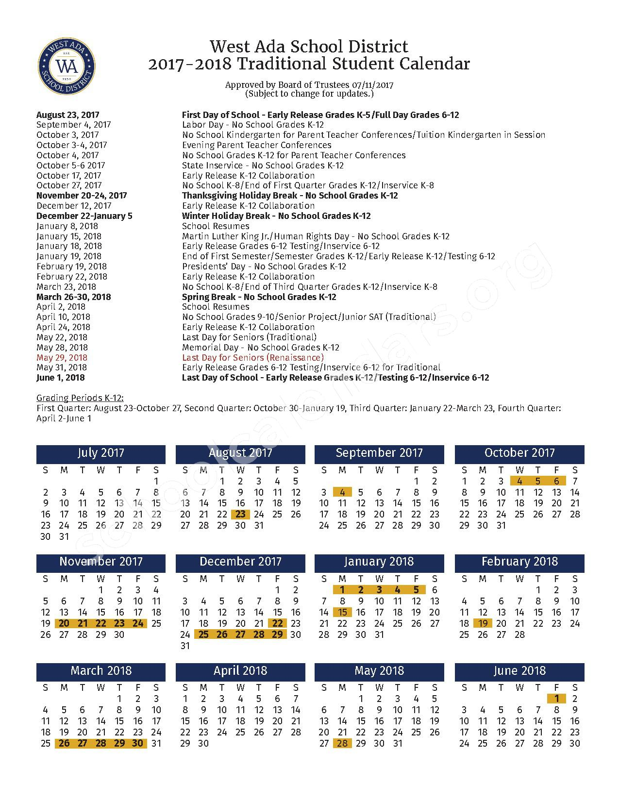2017 - 2018 Traditional Student Calendar – Ada Professional-Technical Center – page 1