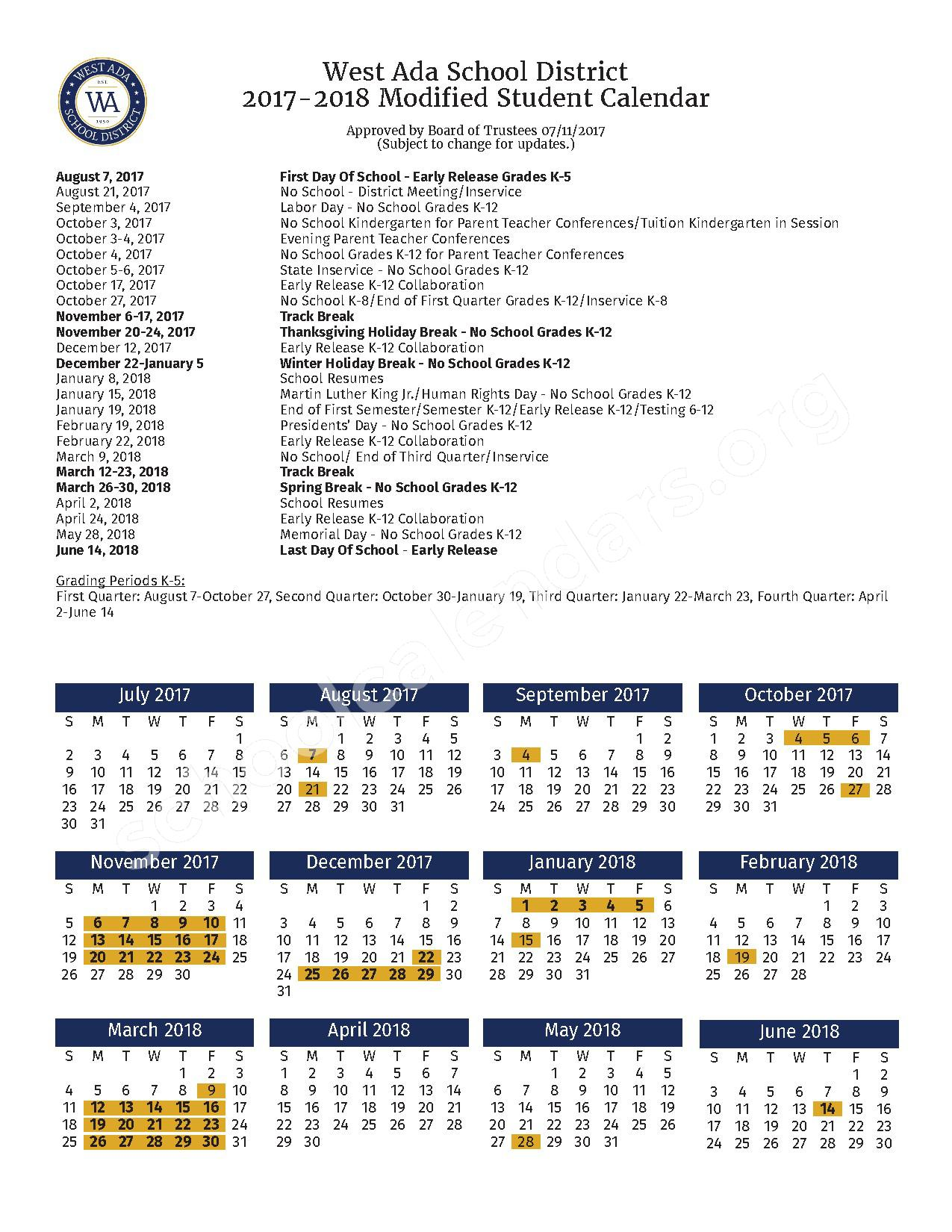 2017 - 2018 Modified School Calendar Dates – West Ada School District – page 1