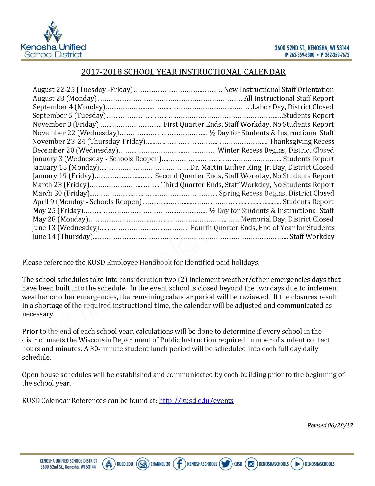 2017 - 2018 Instructional Calendar – Kenosha School District – page 1
