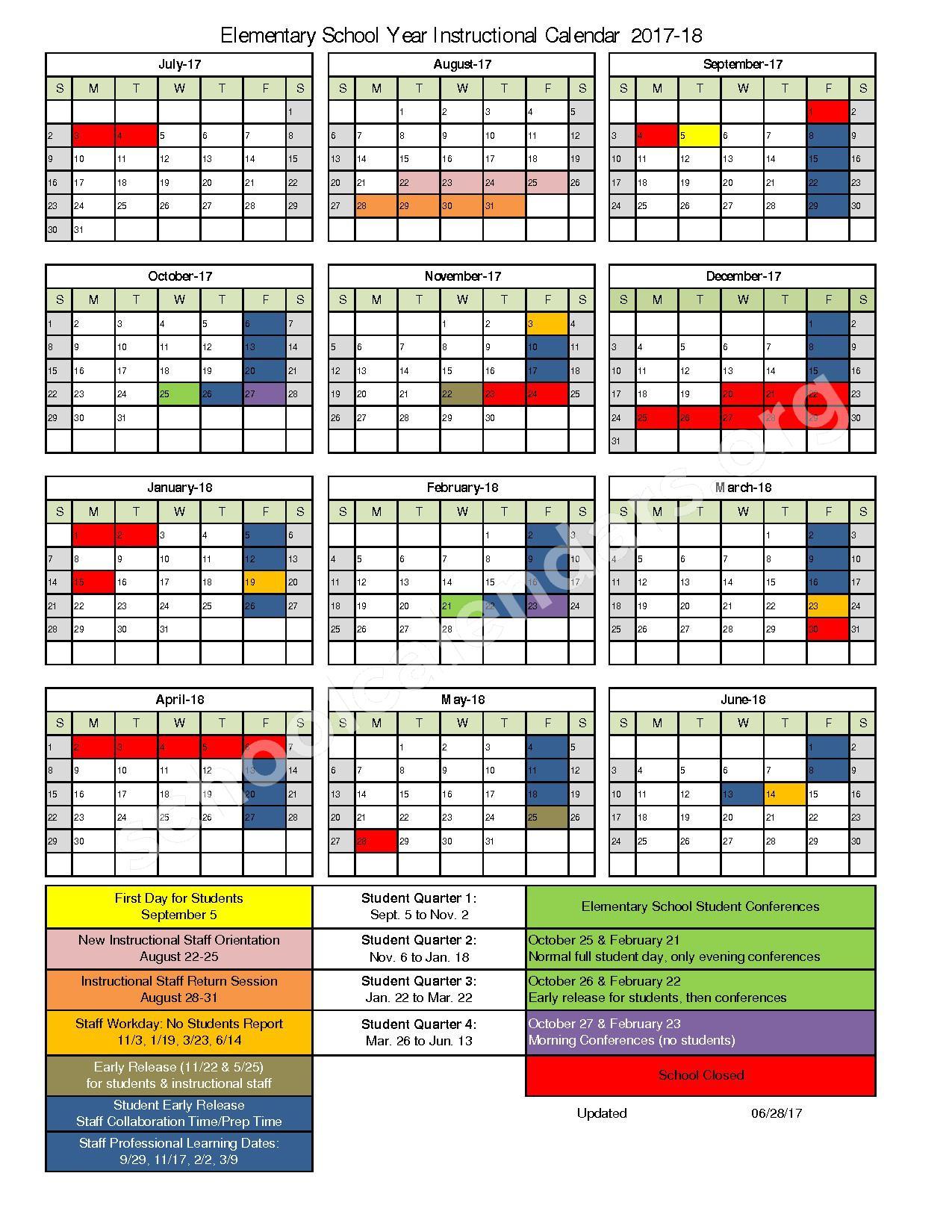 2017 - 2018 Elementary School Instructional Calendar – Kenosha School District – page 1