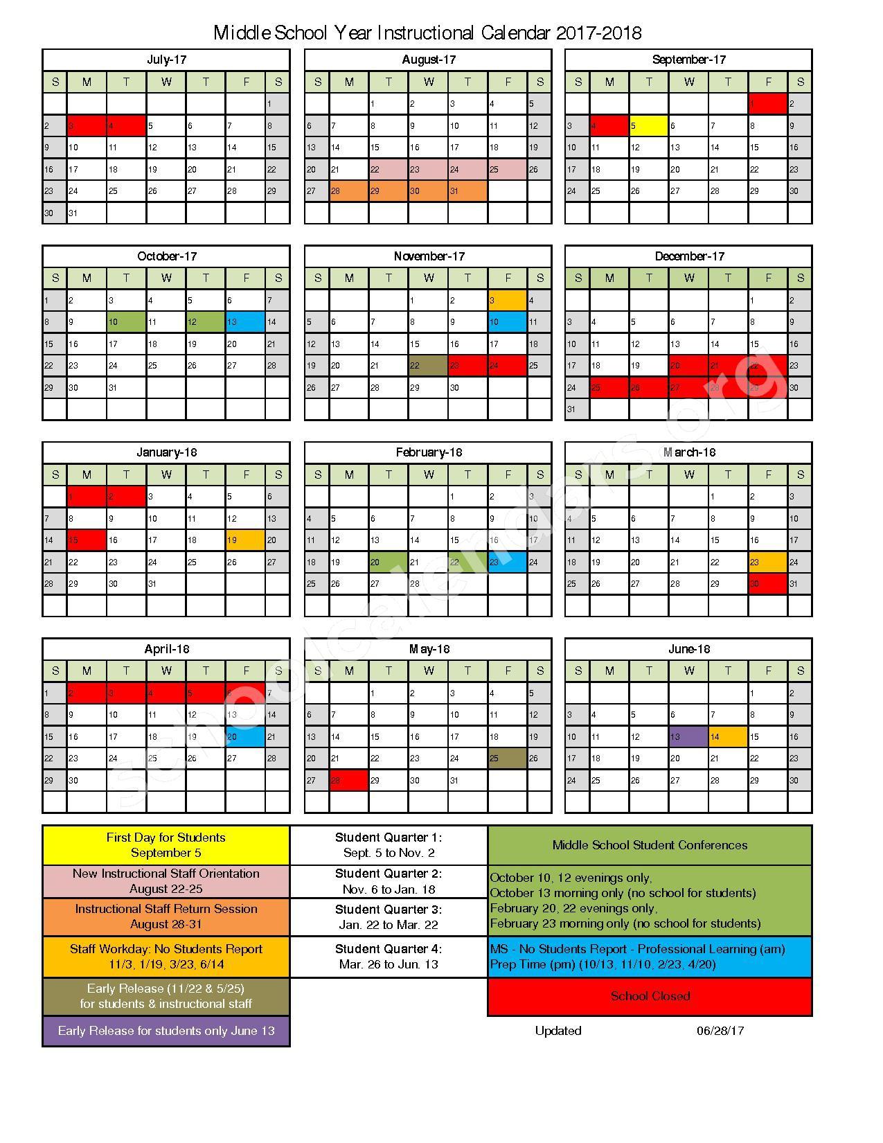 2017 - 2018 Middle School Instructional Calendar – Kenosha School District – page 1