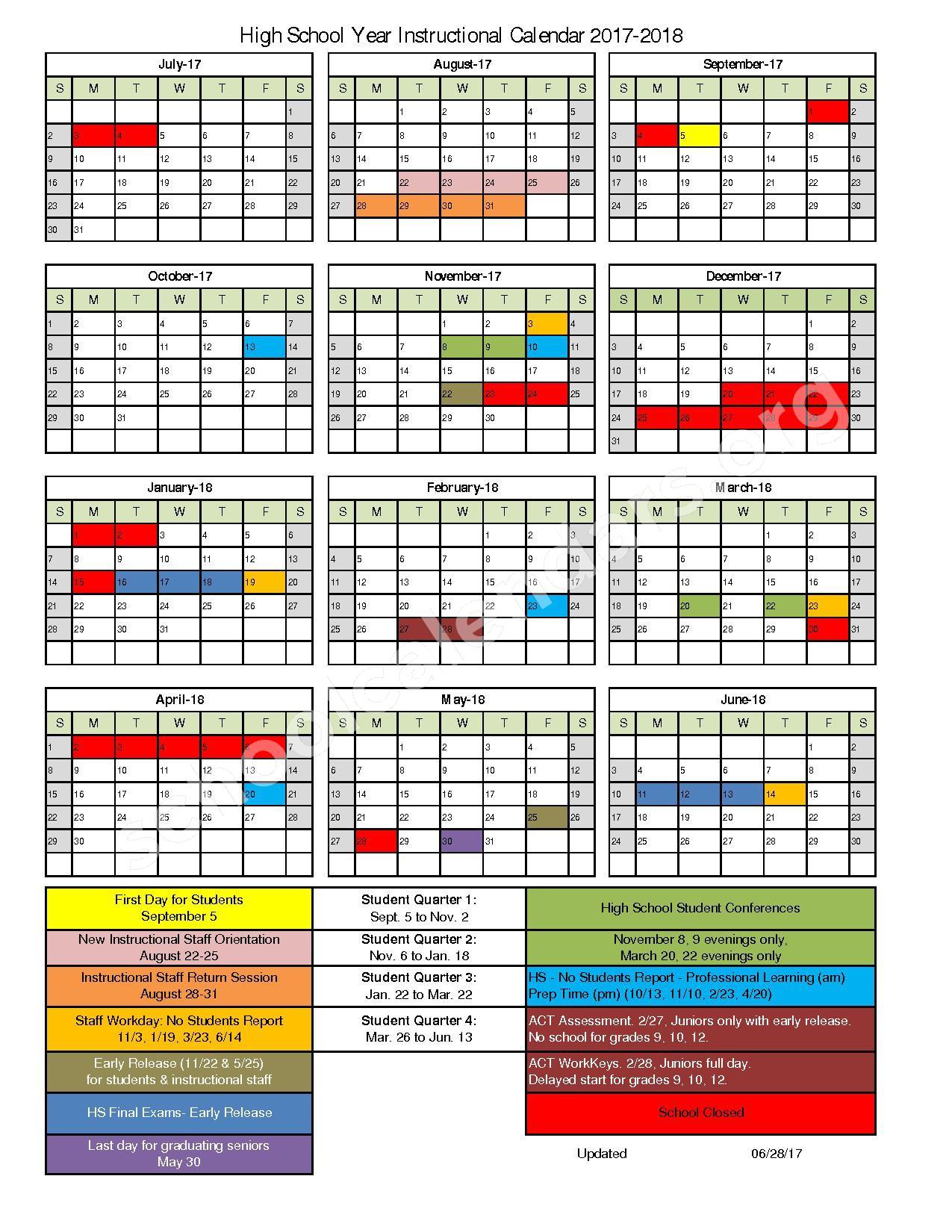 2017 - 2018 High School Instructional Calendar – Kenosha School District – page 1