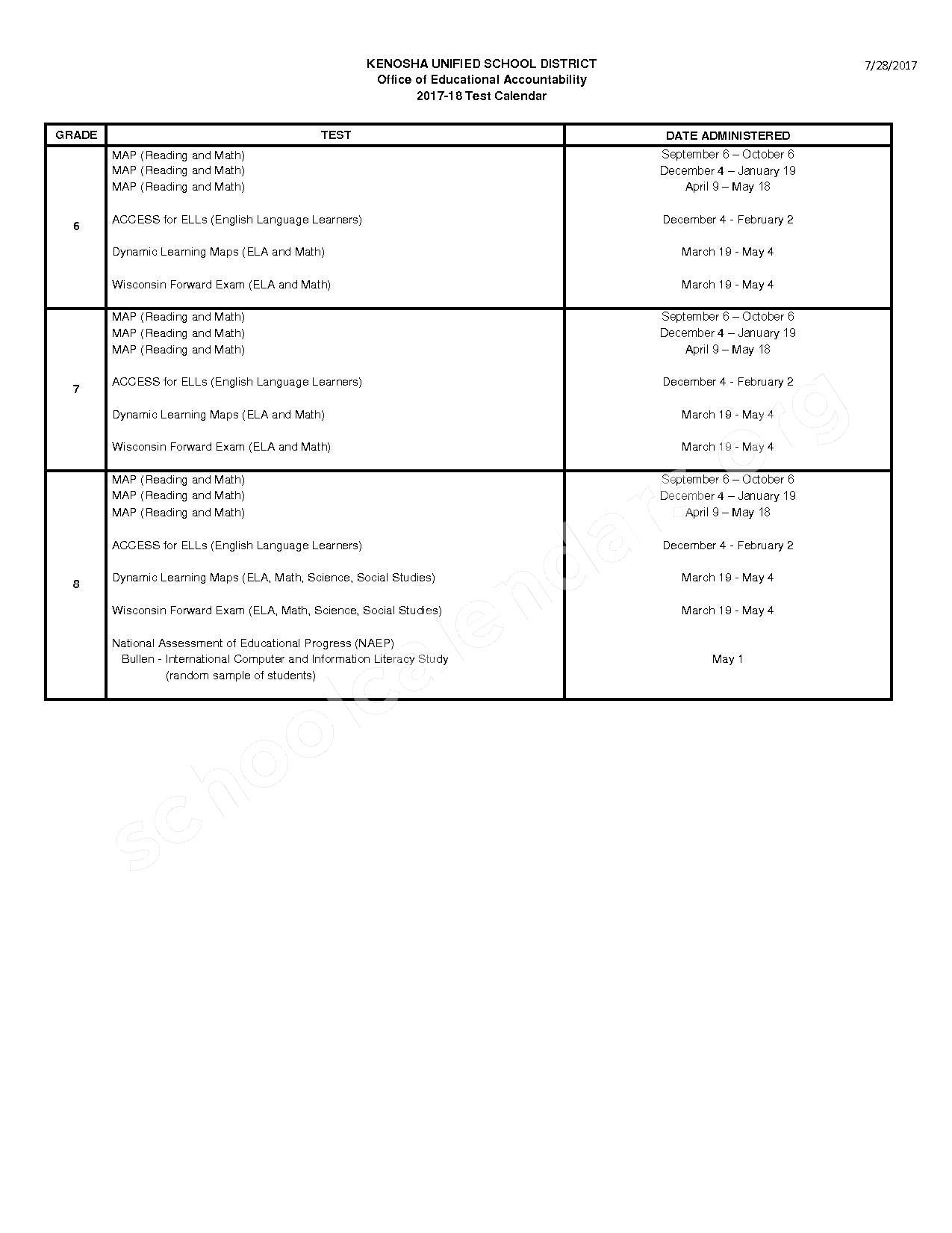 2017 - 2018 Test Calendar – Kenosha School District – page 2