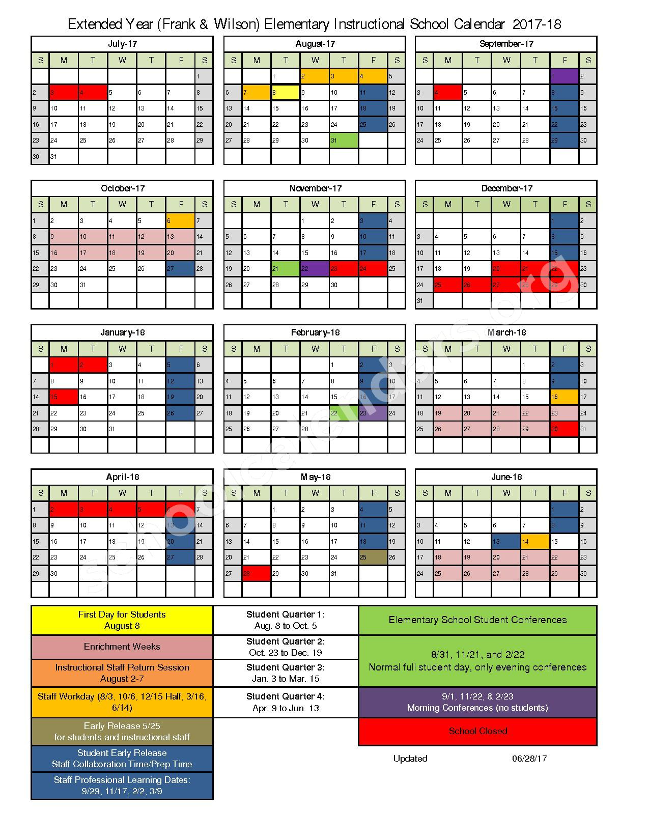2017 - 2018 Extended Year Elementary Instructional Calendar – Frank Elementary School – page 1