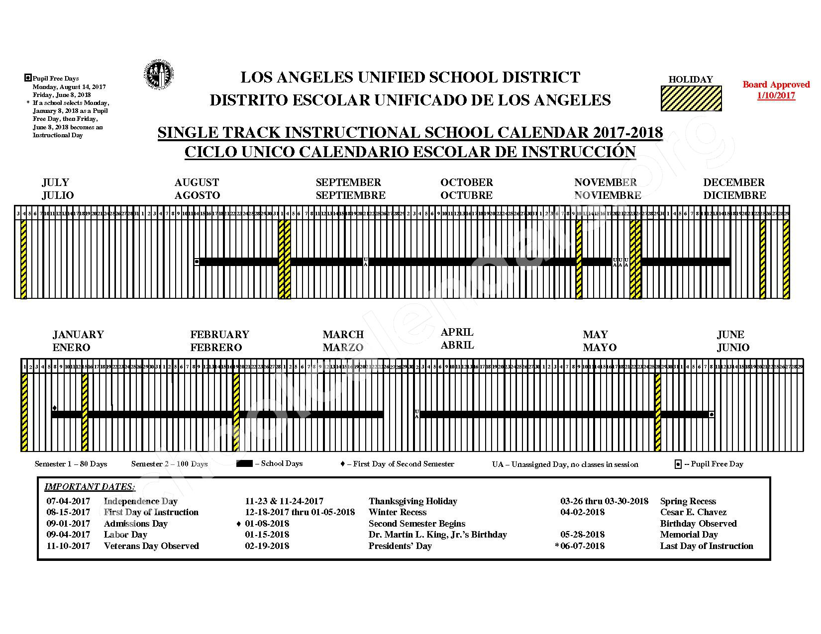2017 - 2018 District Calendar – Los Angeles Unified School District (LAUSD) – page 1