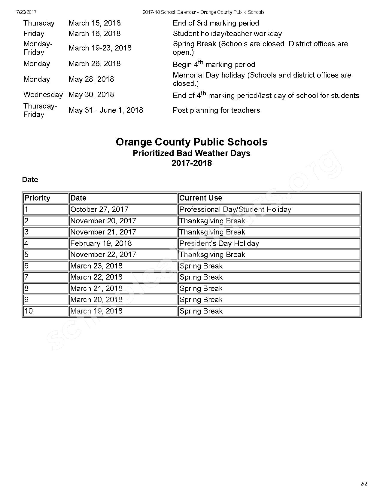 2017 - 2018 OCPS Calendar – Central Florida Leadership Academy – page 2