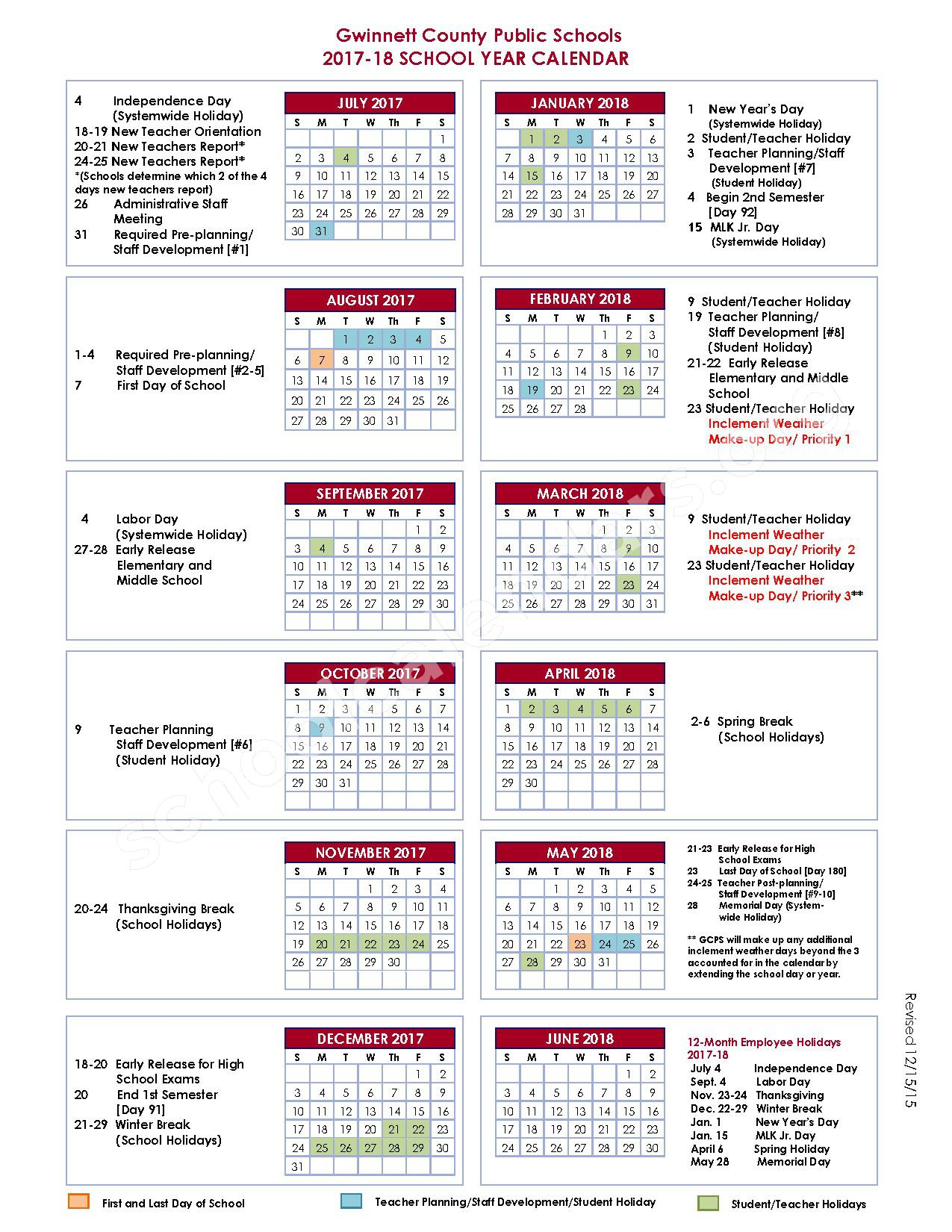 2017 - 2018 School Year Calendar – Grace Snell Middle School – page 1