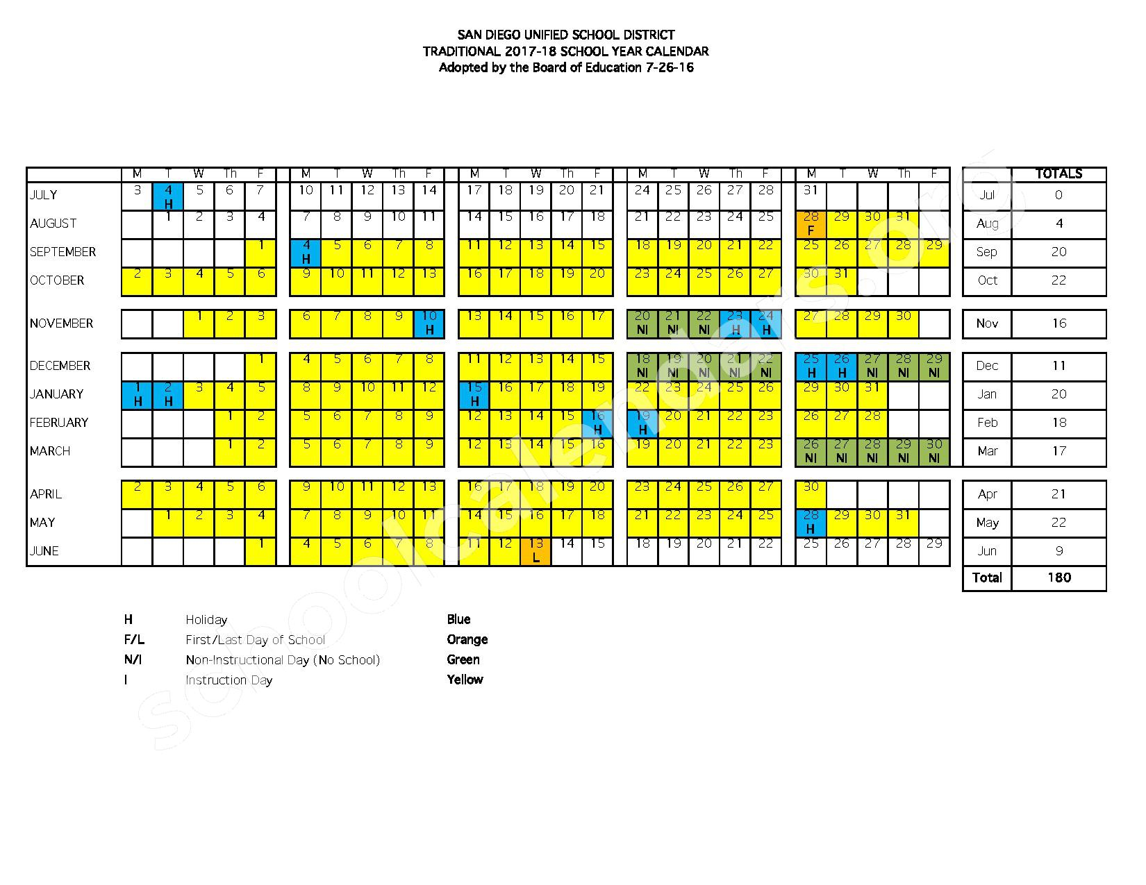 San Diego Unified School District Calendars San Diego Ca