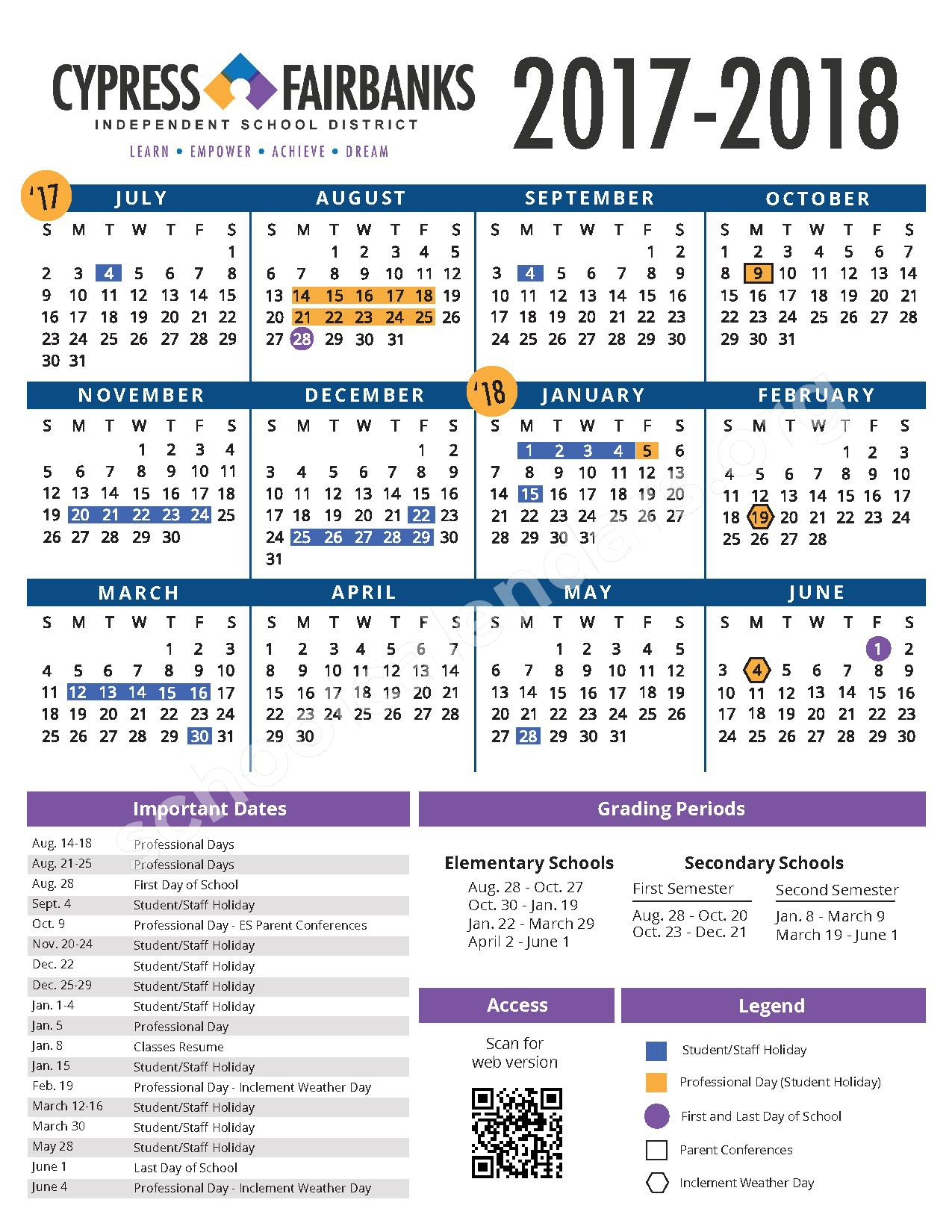 2017 - 2018 CFISD Student Calendar – Cypress-Fairbanks Independent School District – page 1