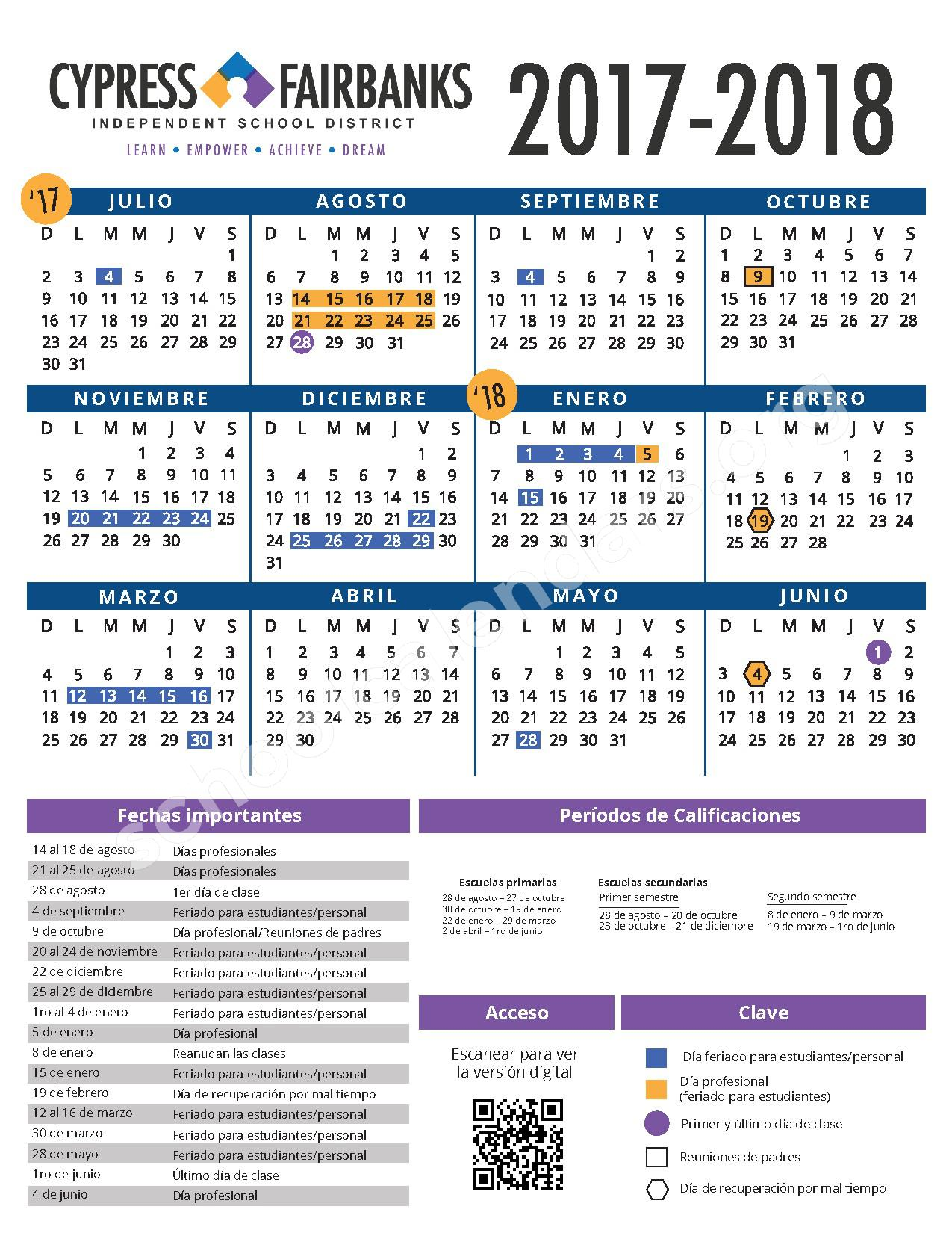 2017 - 2018 Calendario Escolar – Cypress-Fairbanks Independent School District – page 1