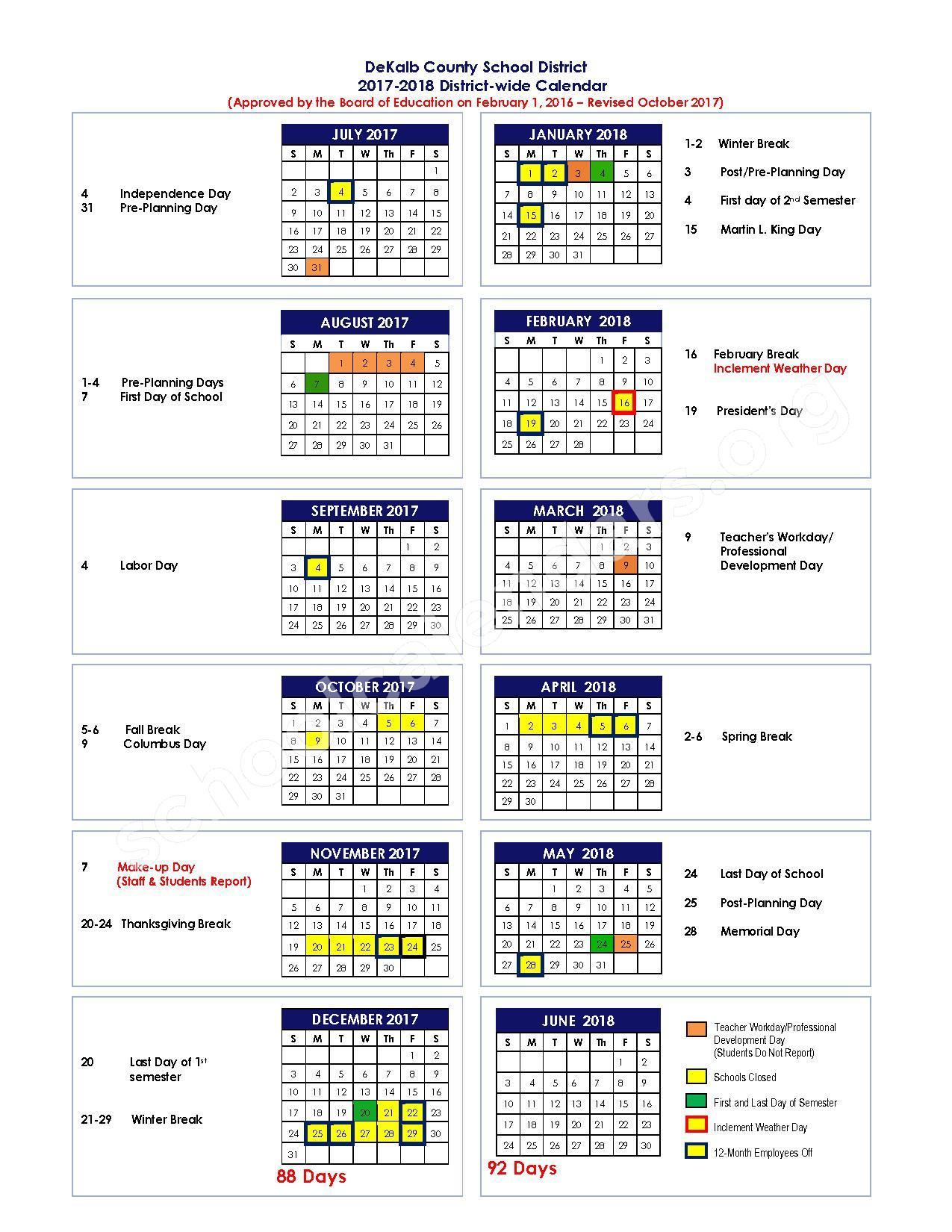 2017 - 2018 District Calendar – Miller Grove High School – page 1