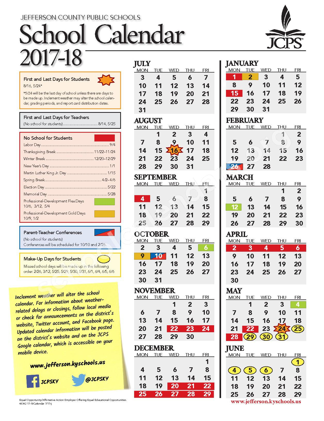 2017 - 2018 District Calendar – Jefferson County School District – page 1