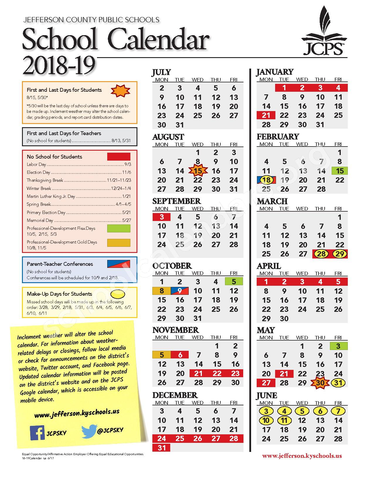 2018 - 2019 District Calendar – Bloom Elementary School – page 1
