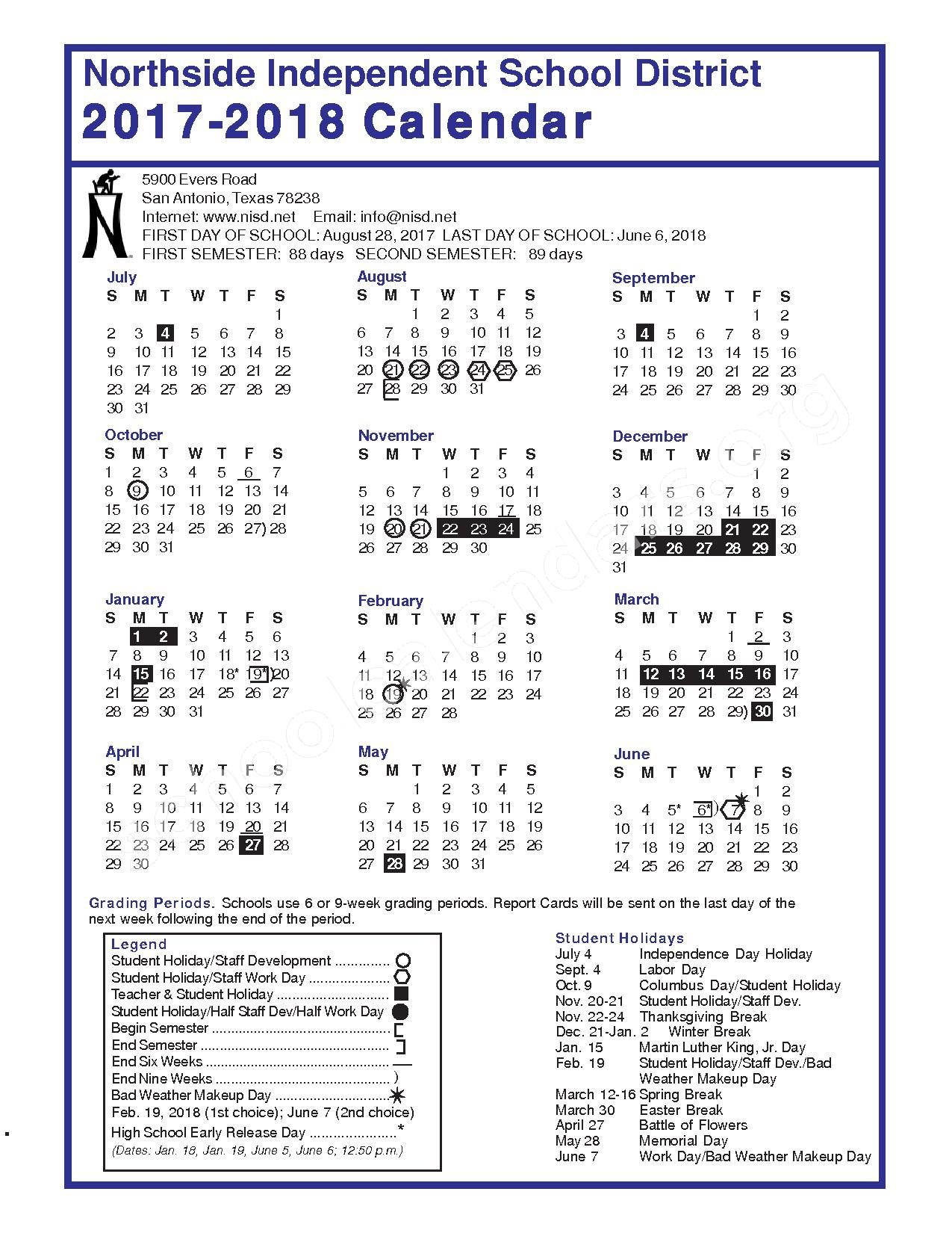2017 - 2018 District Calendar – Northside Independent School District – page 1